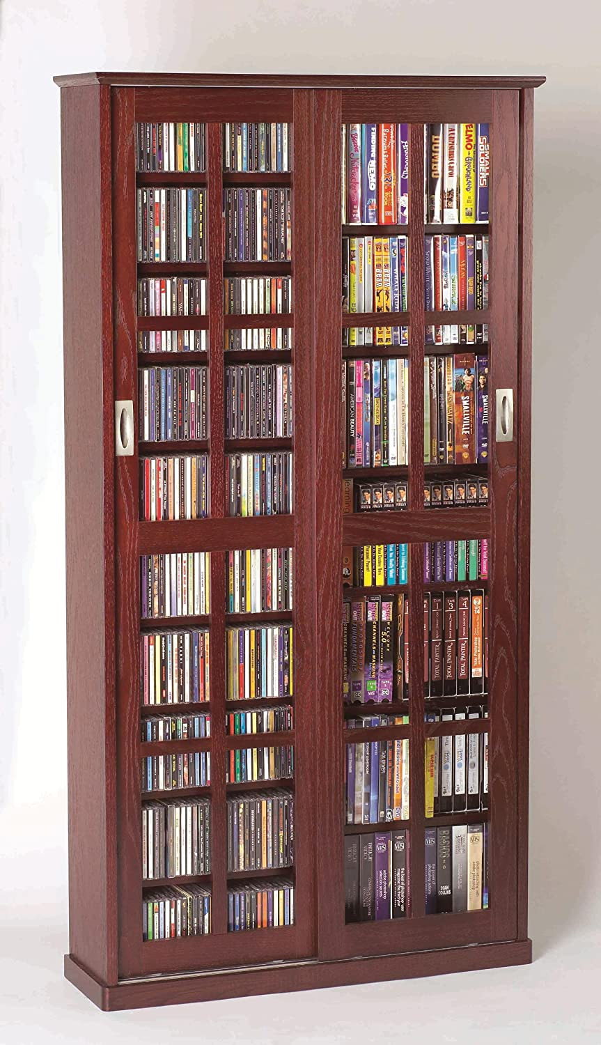Dvd Cabinets with Doors Luxury Leslie Dame Mission Multimedia Dvd Cd Storage Cabinet with Sliding Glass Doors Cherry