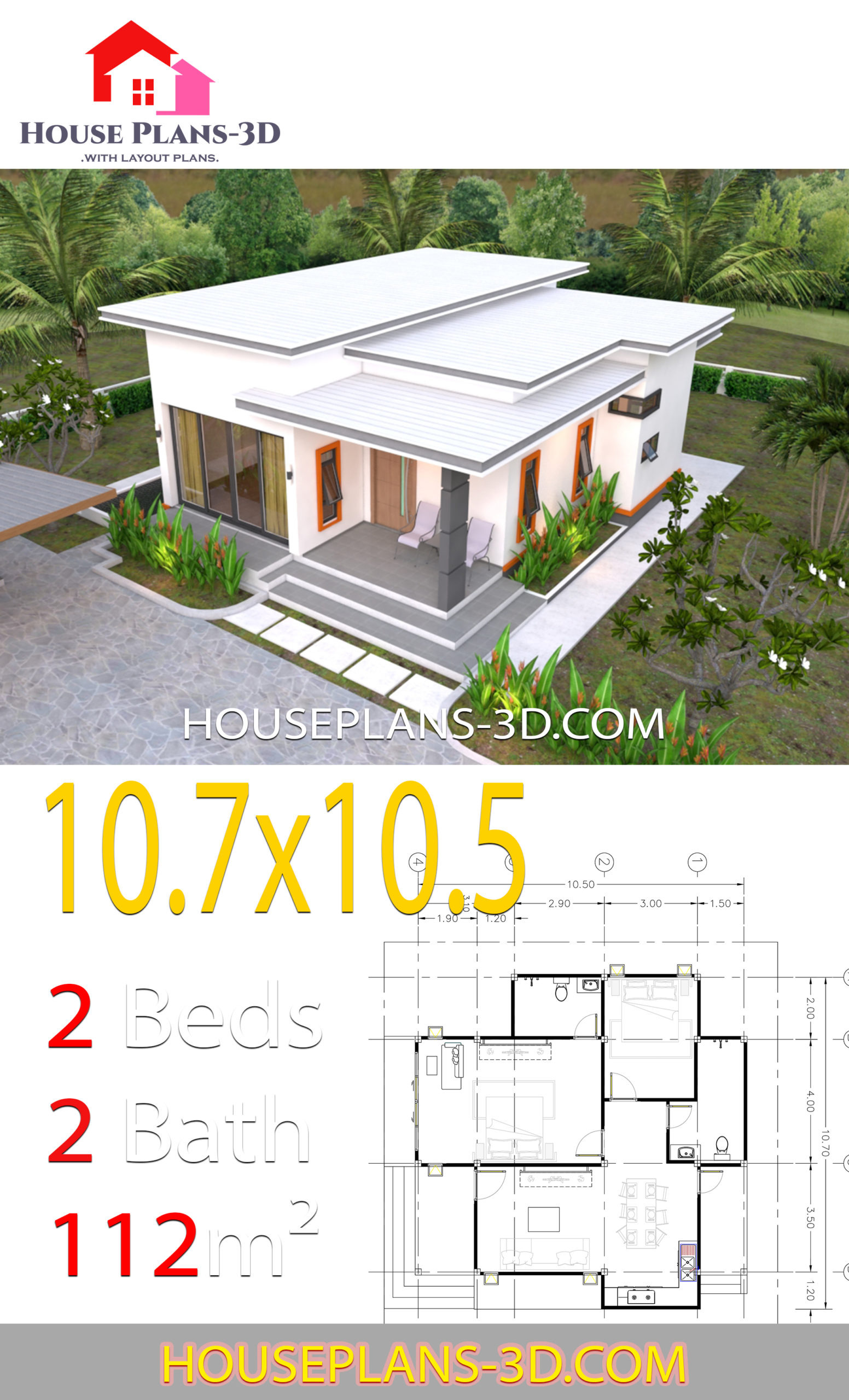 house plans 10 7x10 5 with 2 bedrooms flat roof