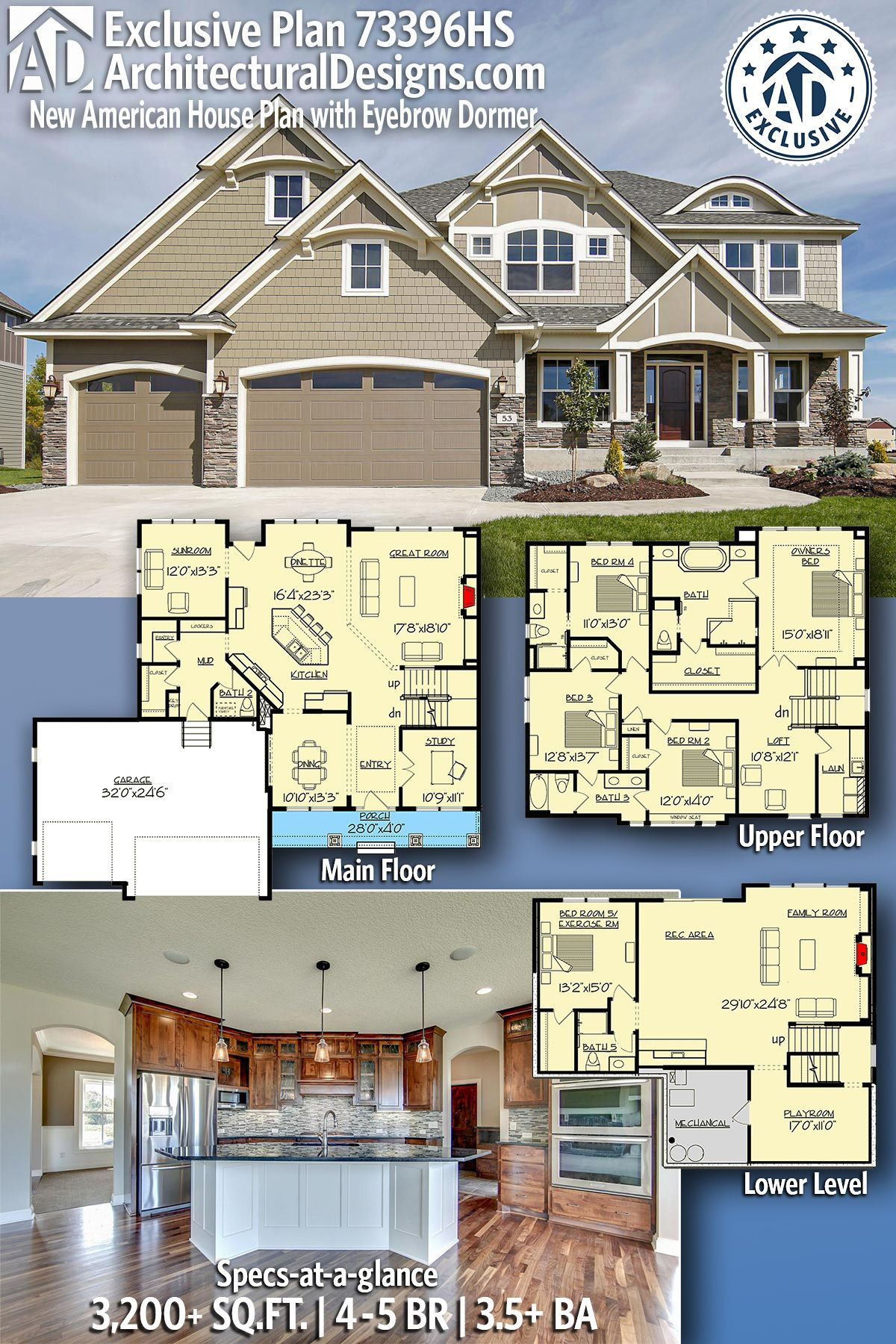 Floor Plans for New Houses Beautiful Plan Hs Exclusive New American House Plan with Eyebrow