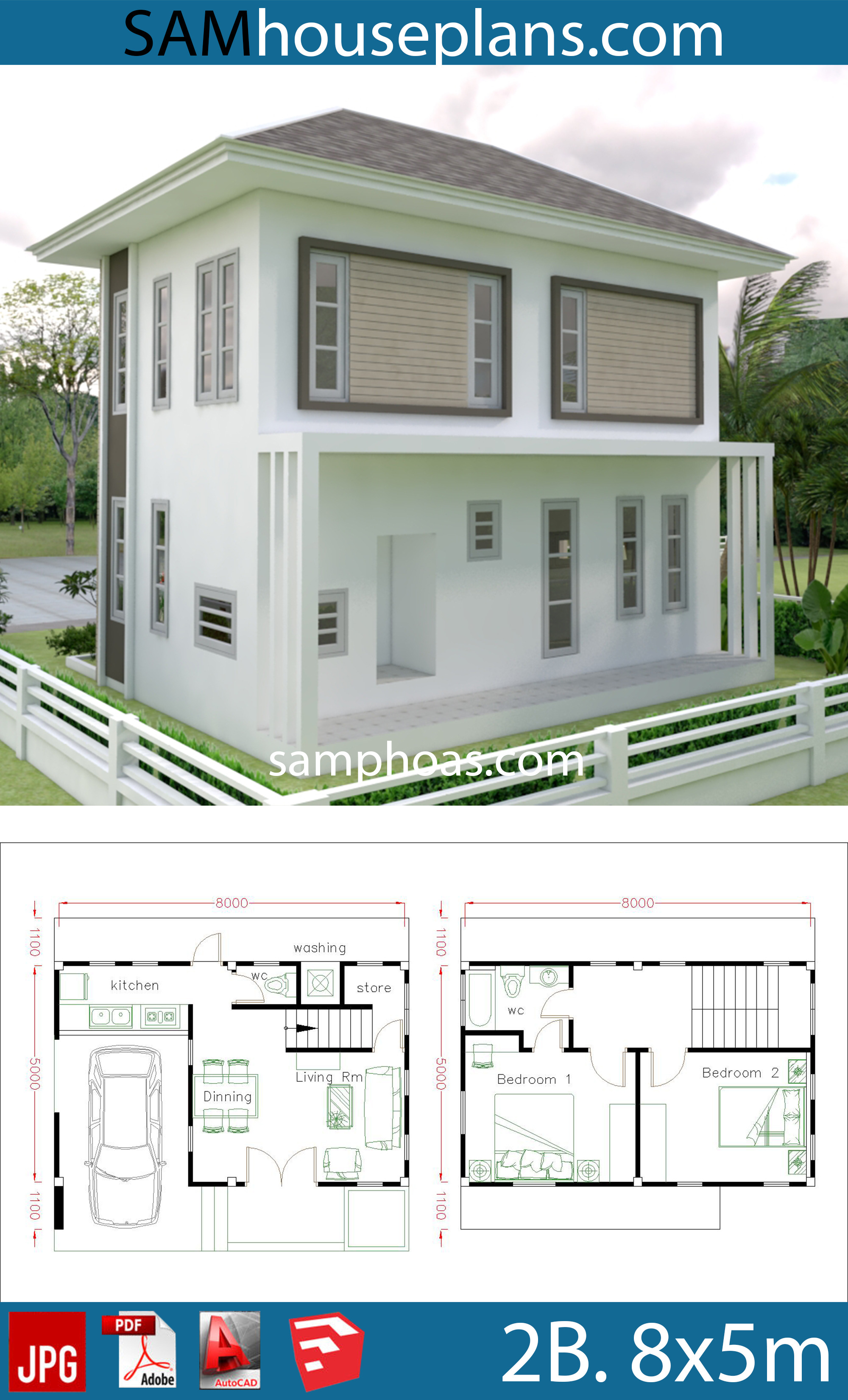 Free Small House Plans and Designs Elegant Small Home Design Plan 8x5m with 2 Bedrooms House Plans