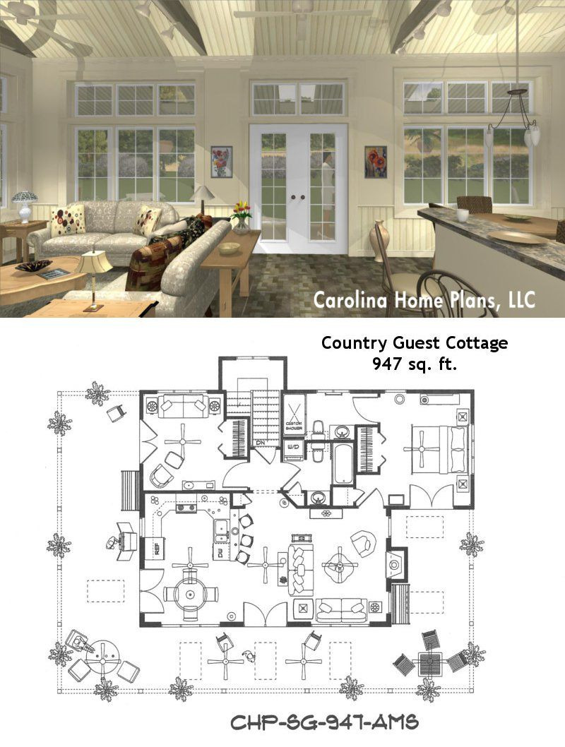 Guest House Design Plans Lovely Small Open Floor Plan Sg 947 Ams Great for Guest Cottage or