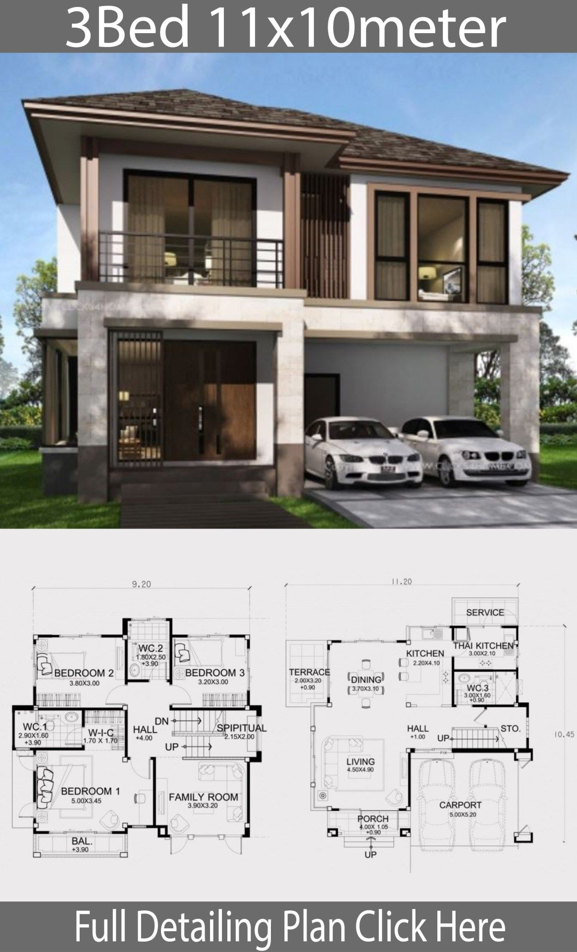 House Plans Designs with Photos Awesome Home Design Plan 11x10m with 3 Bedrooms
