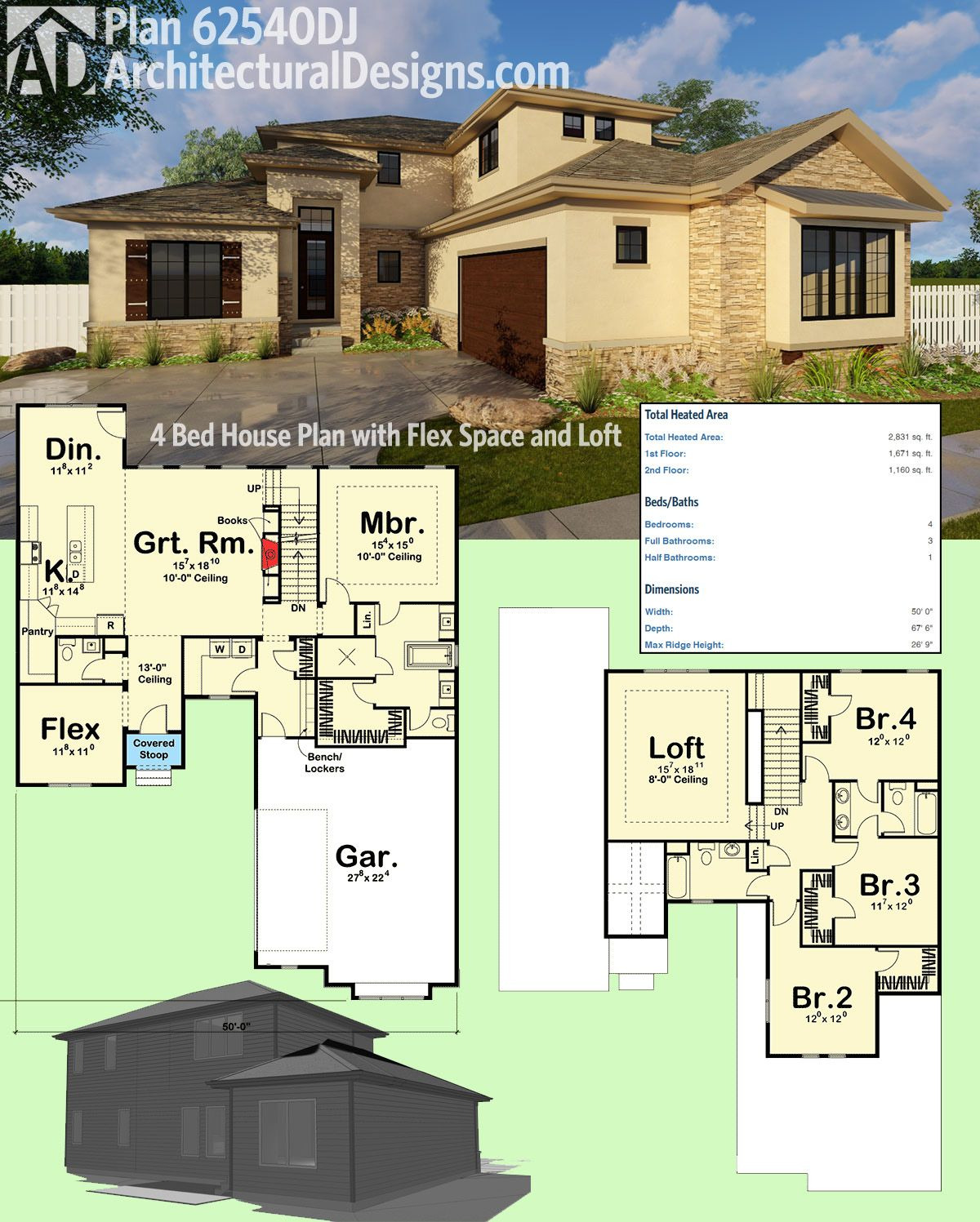 House Plans for Additions Beautiful Plan Dj 4 Bed House Plan with Flex Space and Loft