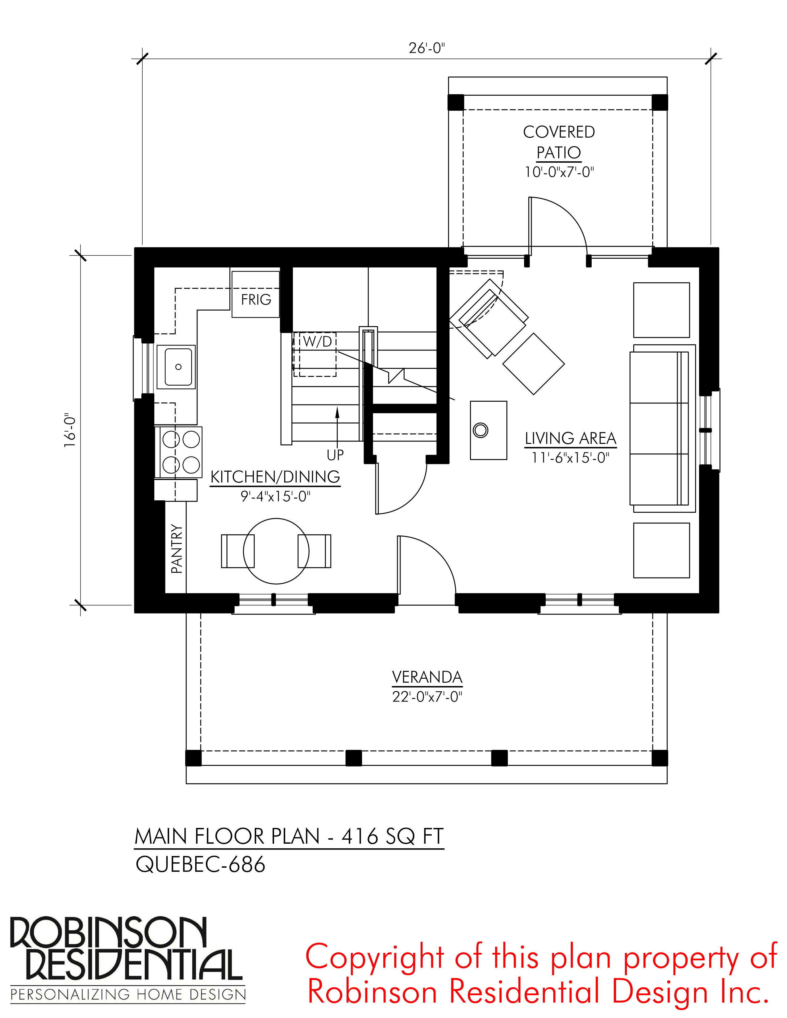 SMALL HOME PLANS QUEBEC 686 01 MAIN FLOOR PLAN