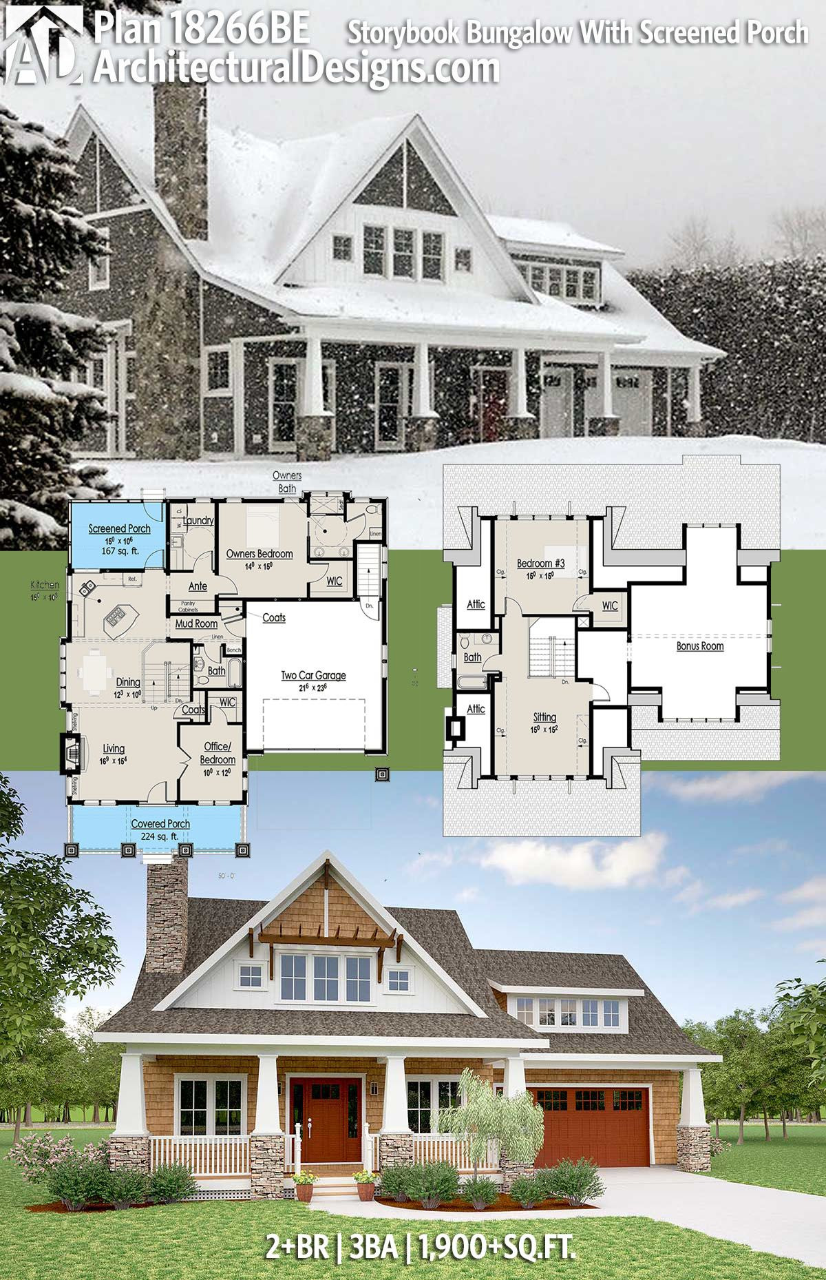 House Plans Screened Porch Inspirational Plan Be Storybook Bungalow with Screened Porch