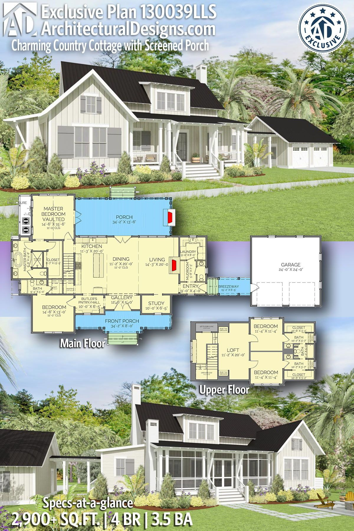 House Plans Screened Porch Lovely Plan Lls Charming Country Cottage with Screened Porch
