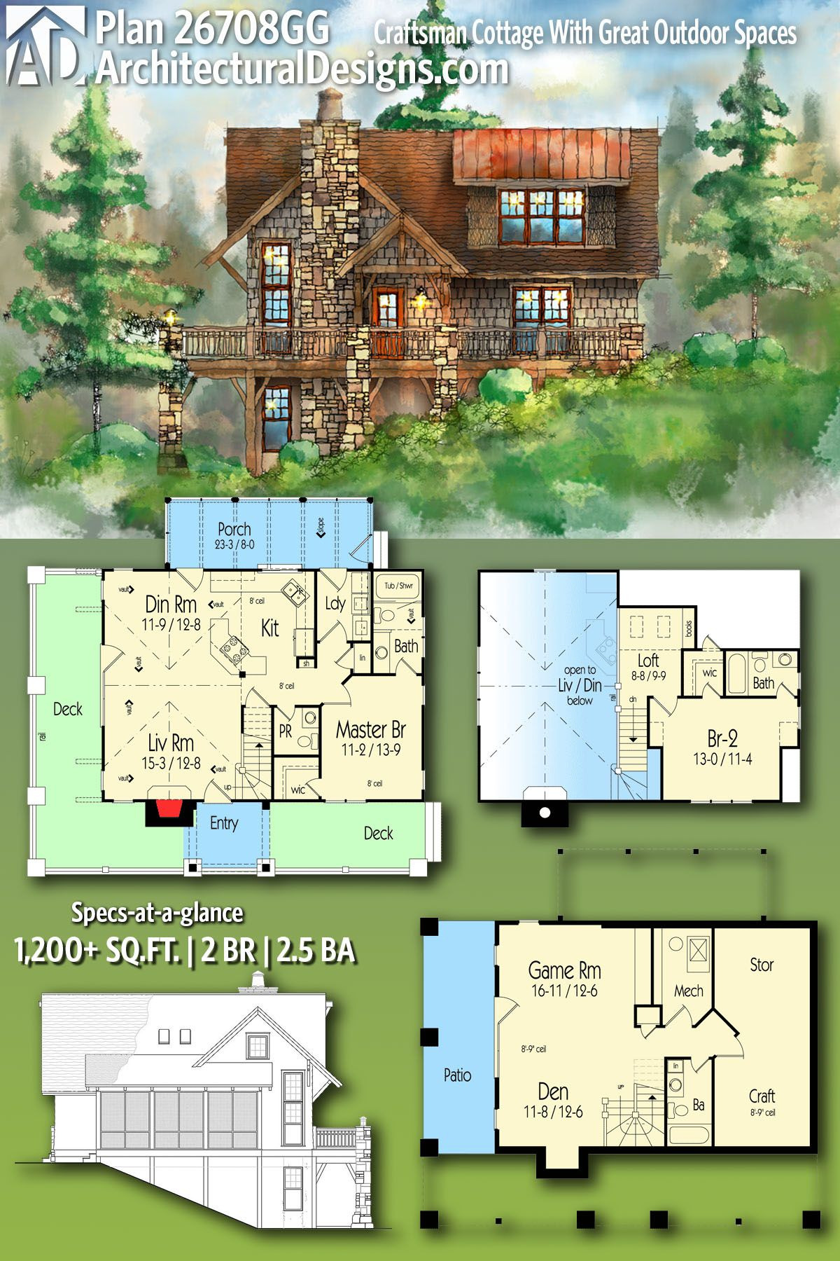 House Plans Timber Frame Fresh Plan Gg Craftsman Cottage with Great Outdoor Spaces