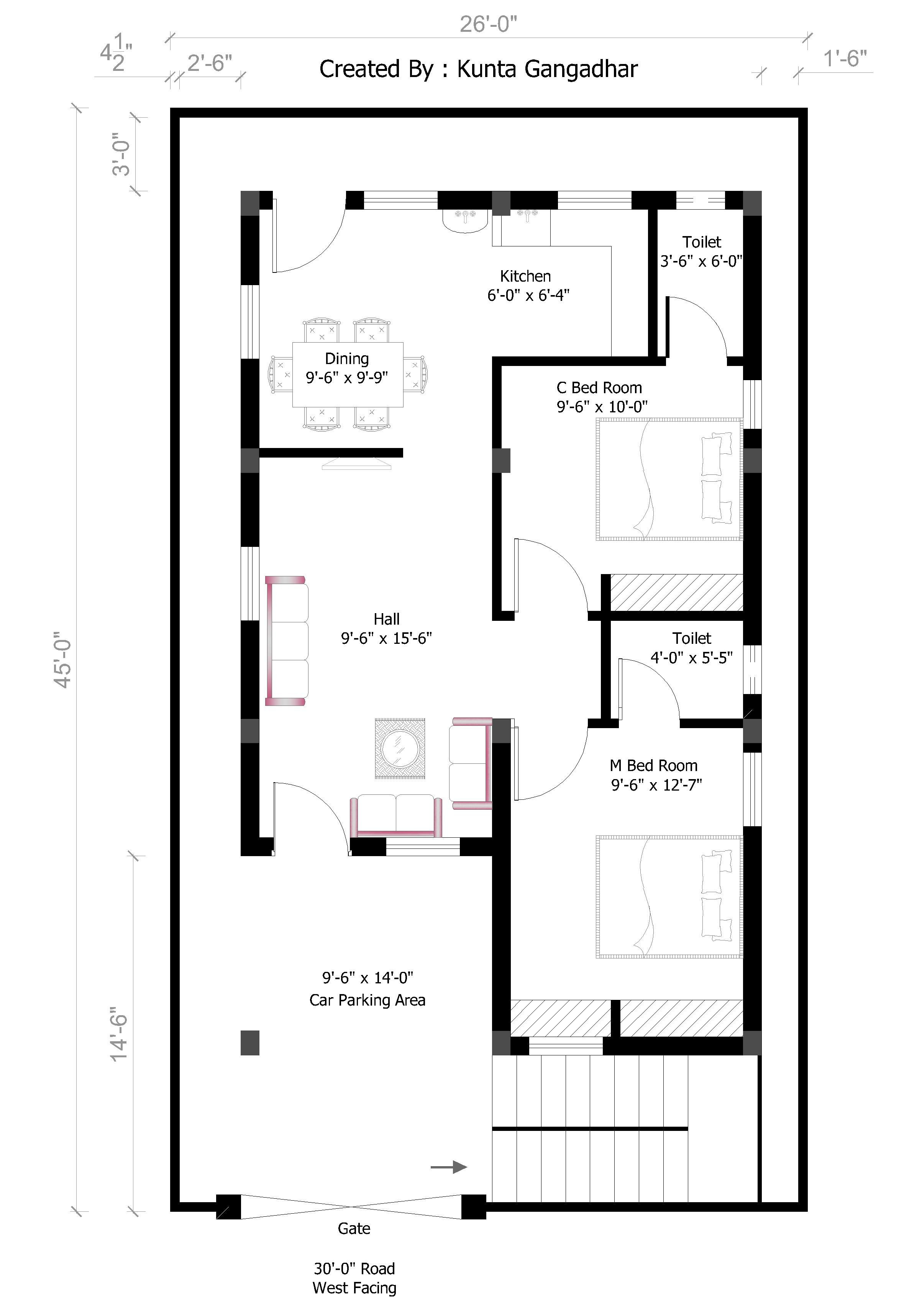 How to Design A House Plan Online for Free Unique 26x45 West House Plan