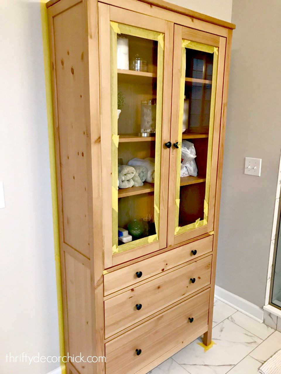 Ikea Cabinet with Doors Luxury Two toned Furniture Makeover for the Bathroom