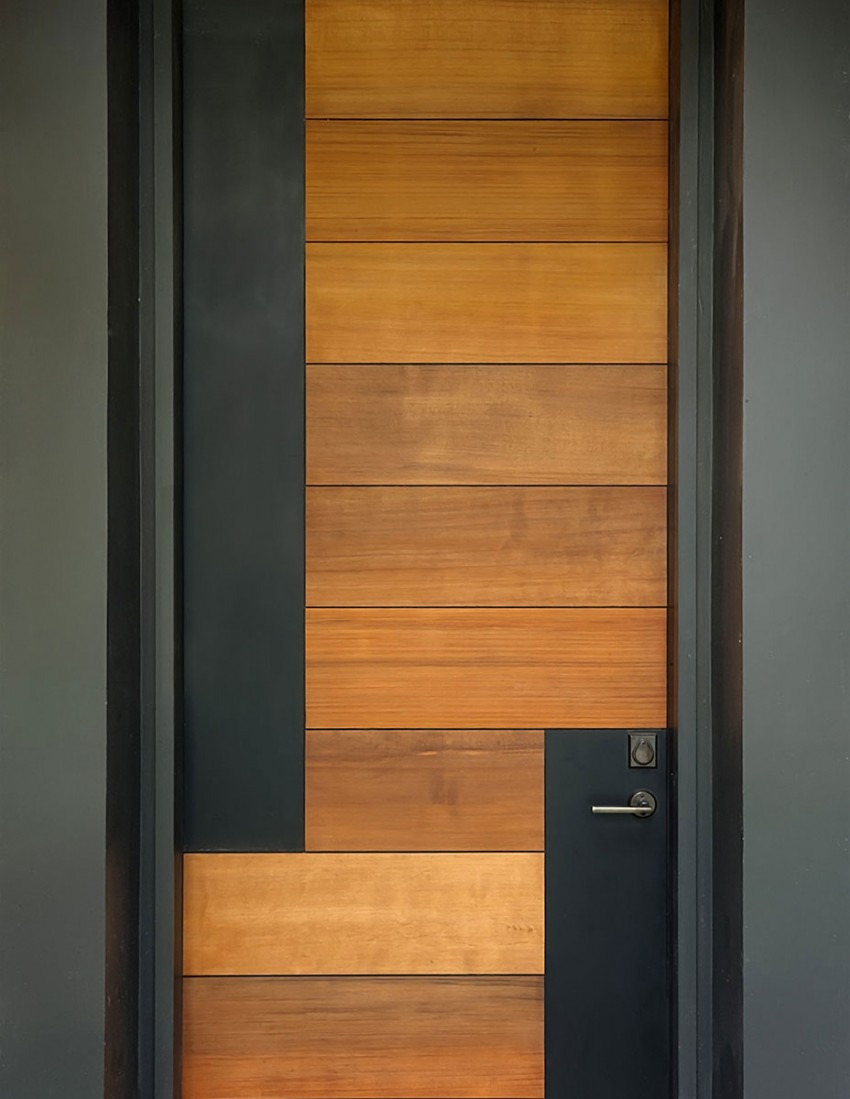 wood and black front door