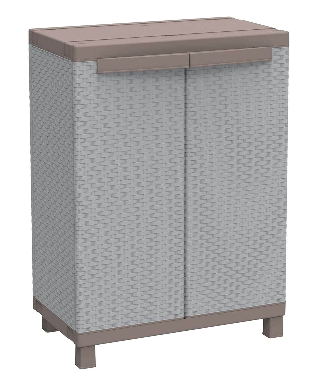 Low Cabinet with Doors Beautiful Terry C Rattan 680 Low Plastic Cabinet with Doors 68 X 39 X 91 5 Cm Grey Taupe