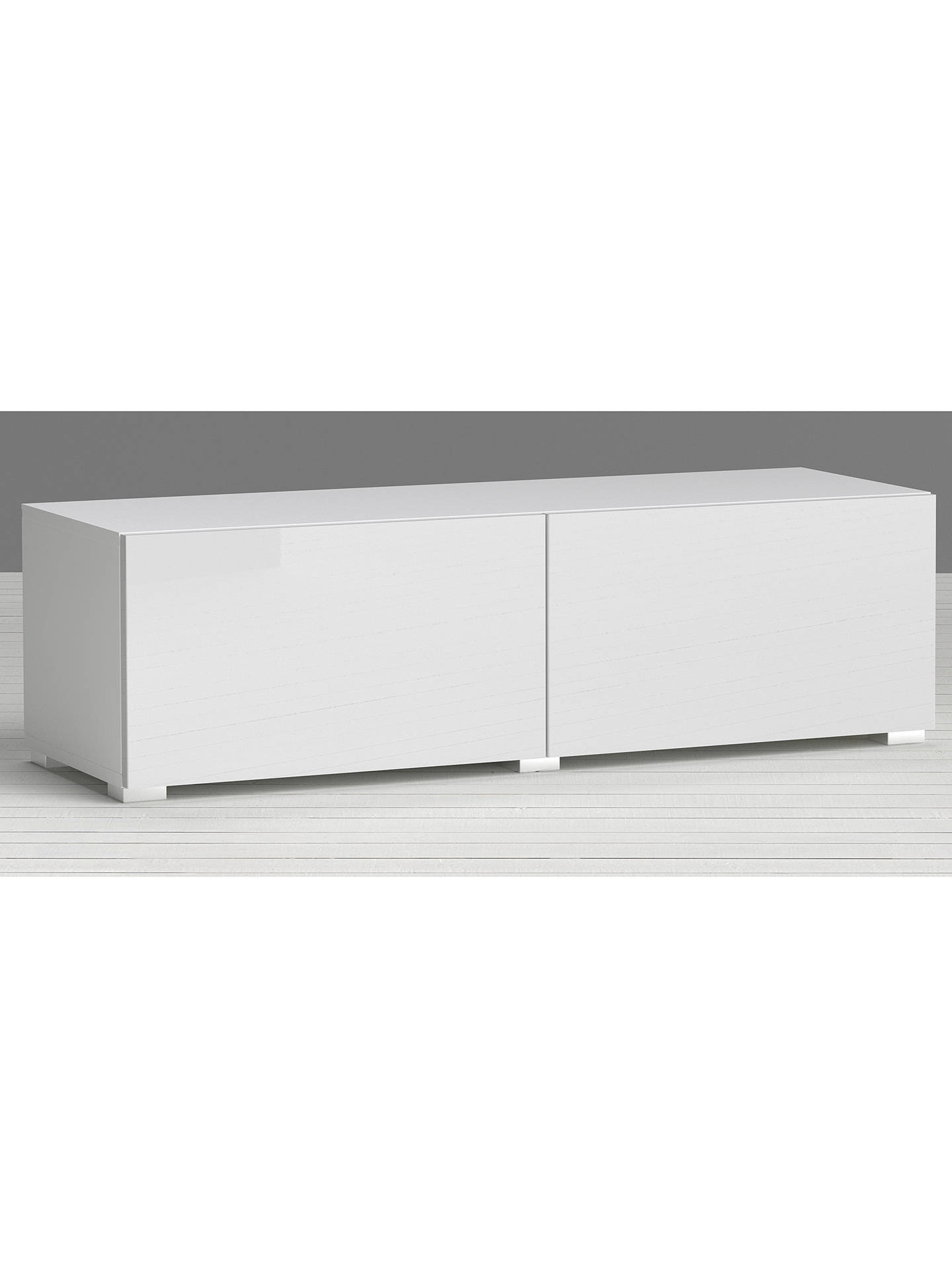 Low Cabinet with Doors Luxury House by John Lewis Match Low Wide Shelf Unit White & Gloss White Doors