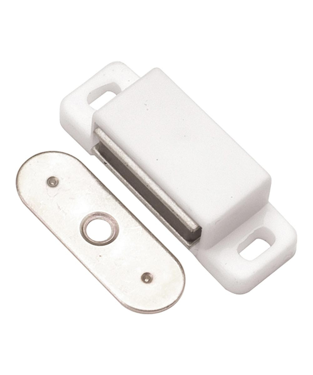 1 1 2 in small white plastic magnetic cabinet door catch