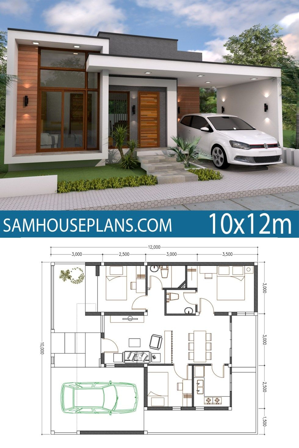 Minimalist Modern House Plans Beautiful Home Plan 10x12m 3 Bedrooms In 2020