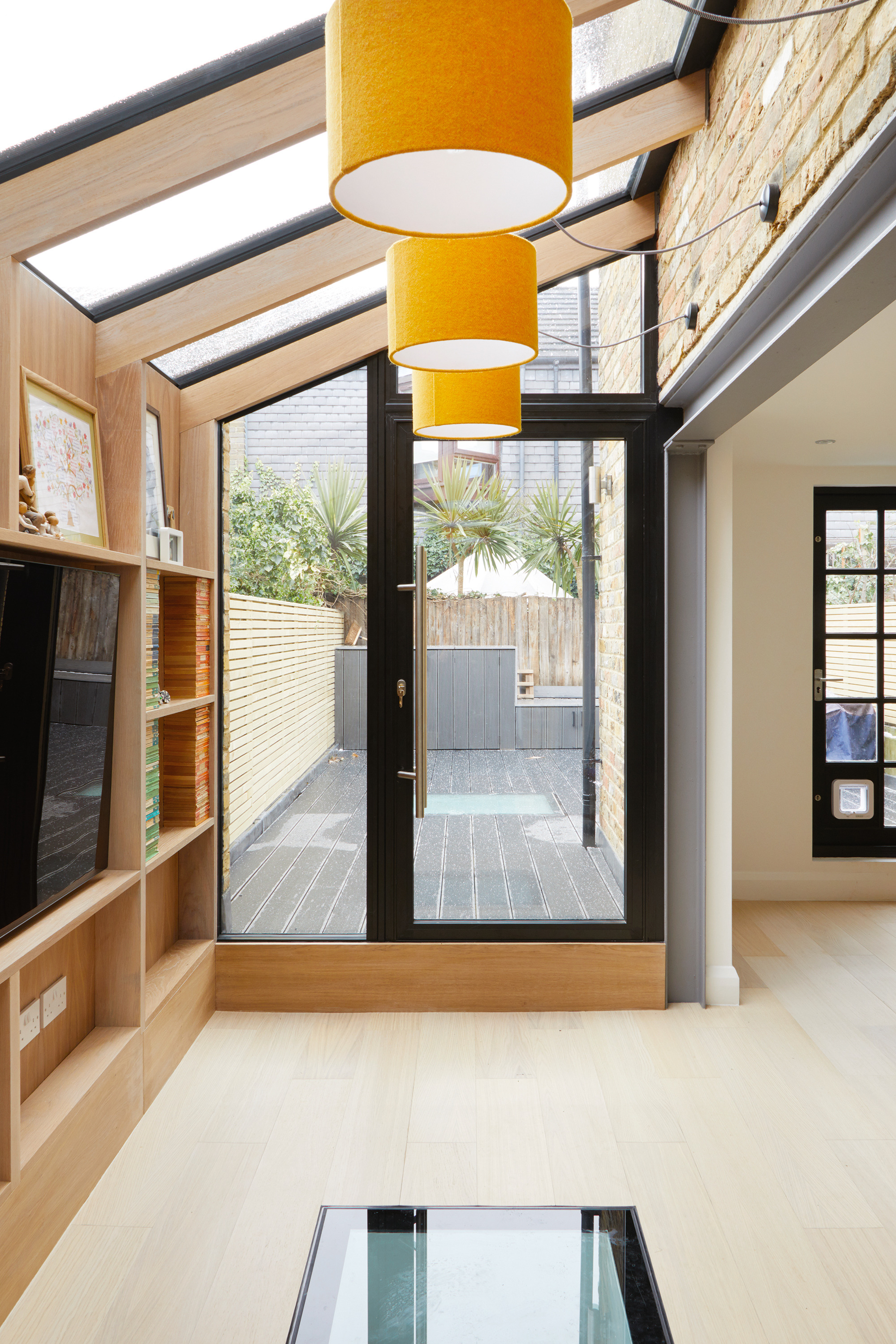 timber frame glazed extension Hut Architecture interior credit Heather Hobhouse