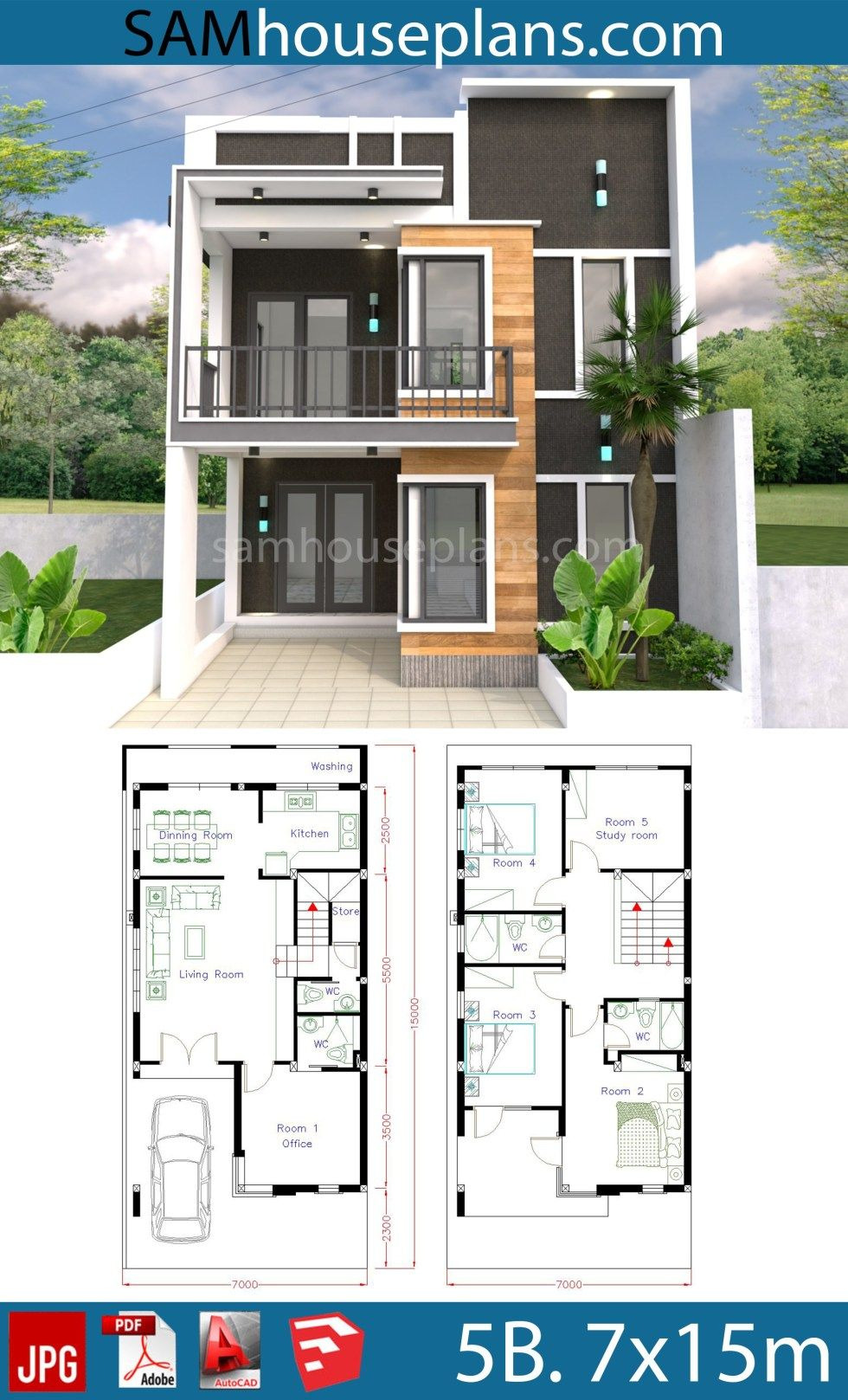 New Model House Design Beautiful House Plans 7x15m with 4 Bedrooms