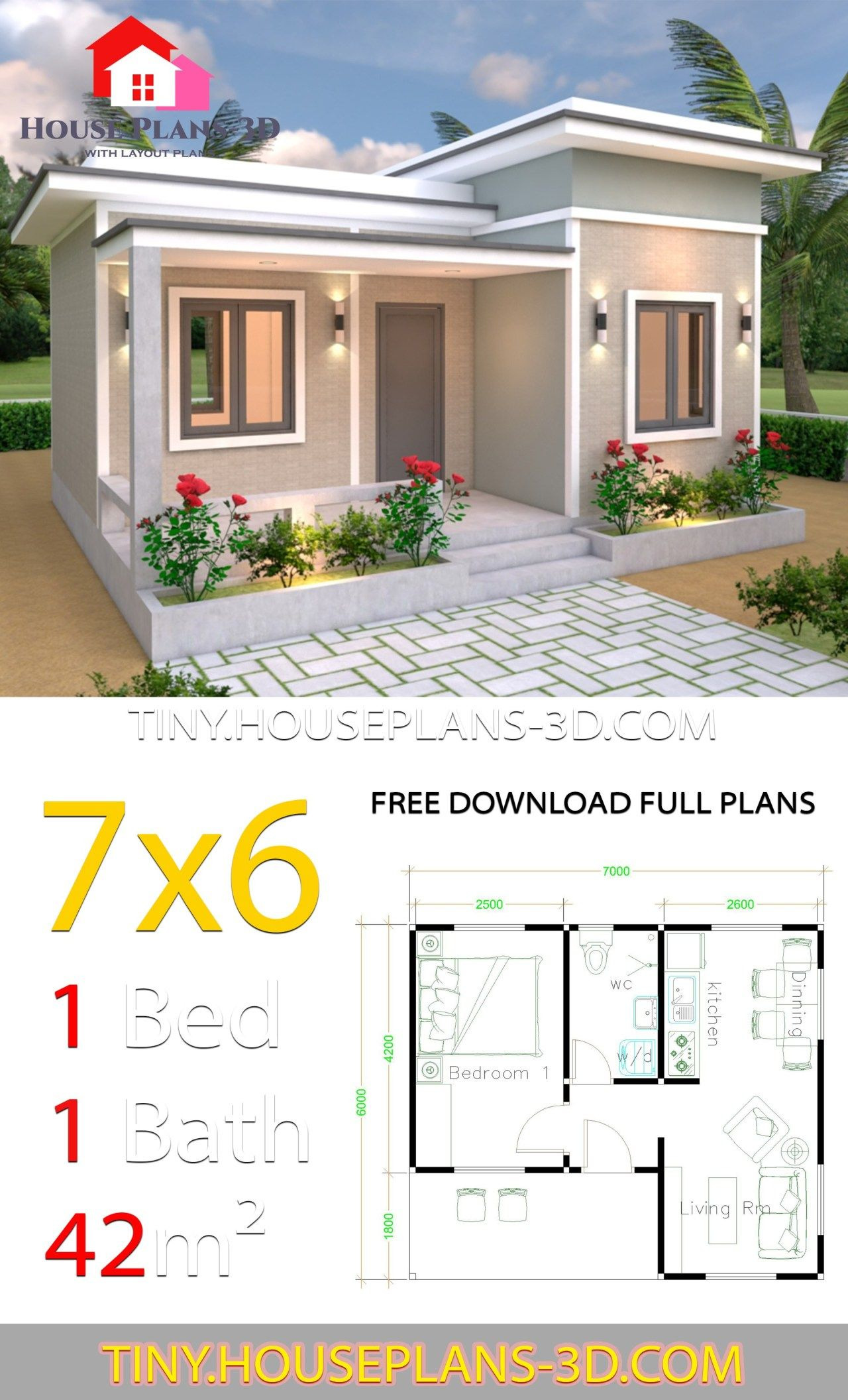 One Bedroom Guest House Plans Elegant 7x6 with E Bedroom Flat Roof