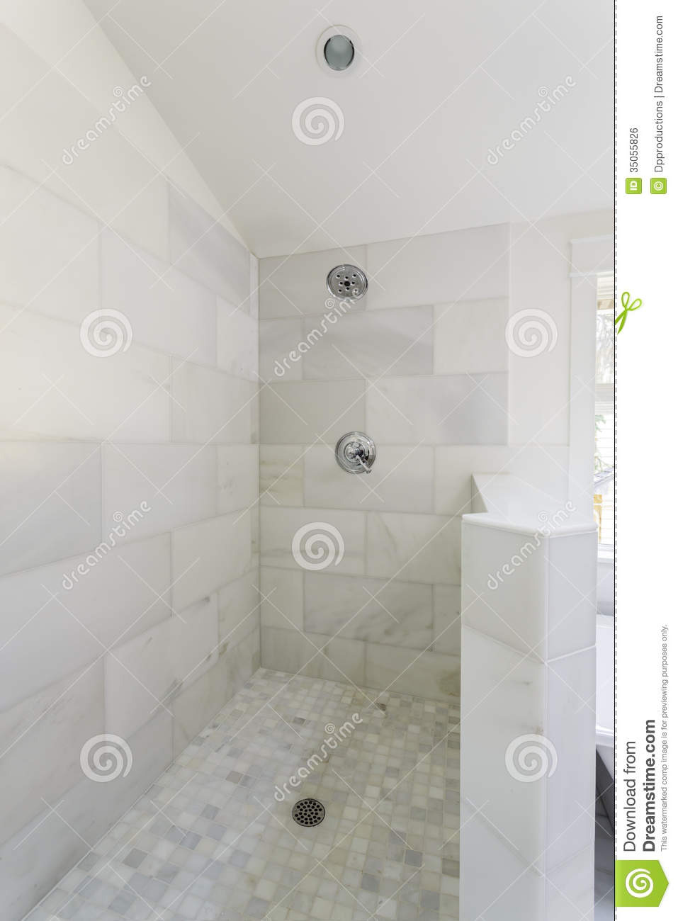 modern marble tile walk shower tiled open aired head fixture drain