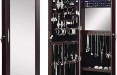 Over The Door Jewelry Cabinet New Abington Lane Over The Door Jewelry Armoire Lockable Organizing Cabinet With Full Length Mirror And Led Lights Espresso Finish Includes Wall