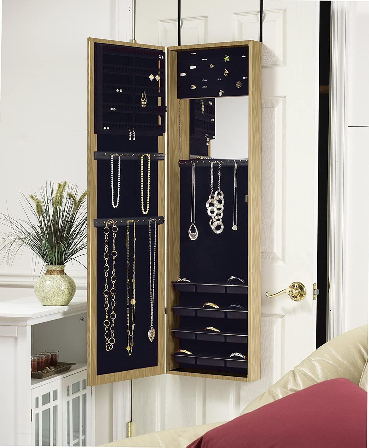 Over the Door Jewelry Cabinet Unique Plaza astoria Over the Door Wall Mount Jewelry Armoire with Full Length Dressing Mirror and Vanity Mirror for Earrings Necklaces and Rings Oak