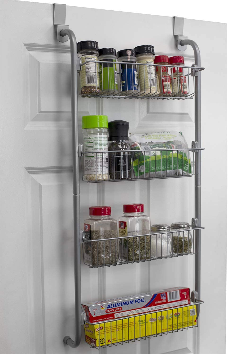 Over the Door Storage Cabinet Beautiful Home Basics Bh Heavy Duty 4 Tier Over the Door Storage Shelf Hanging Cabinet Metal Pantry Rack organizer Spice Space Grey Gray