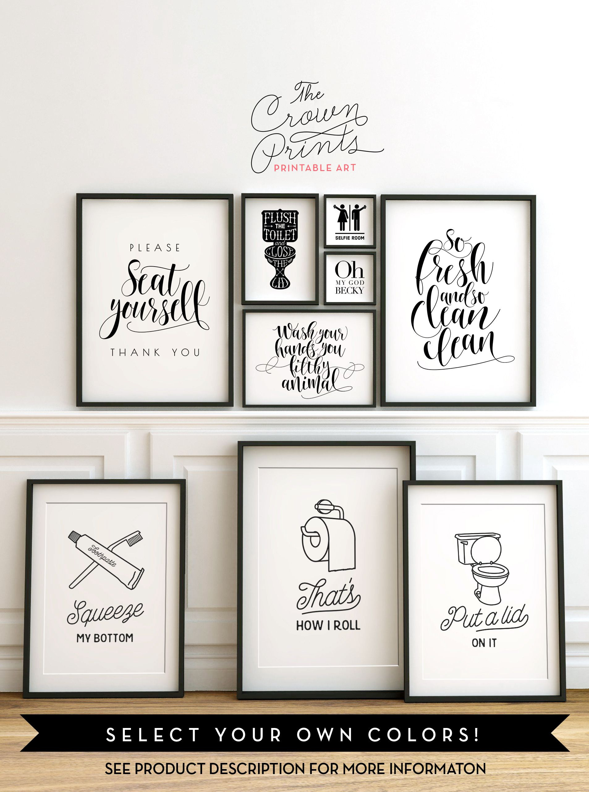 Pictures for Bathroom Wall Decor Awesome Printable Bathroom Wall Art From the Crown Prints On Etsy