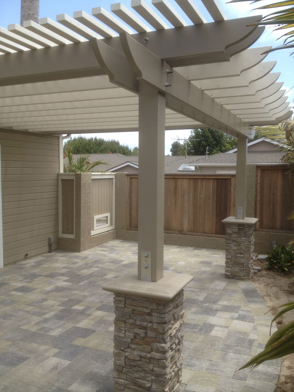 how to build patio roof attached to house new patio with pergola we used angelus pavers in this design durch how to build patio roof attached to house