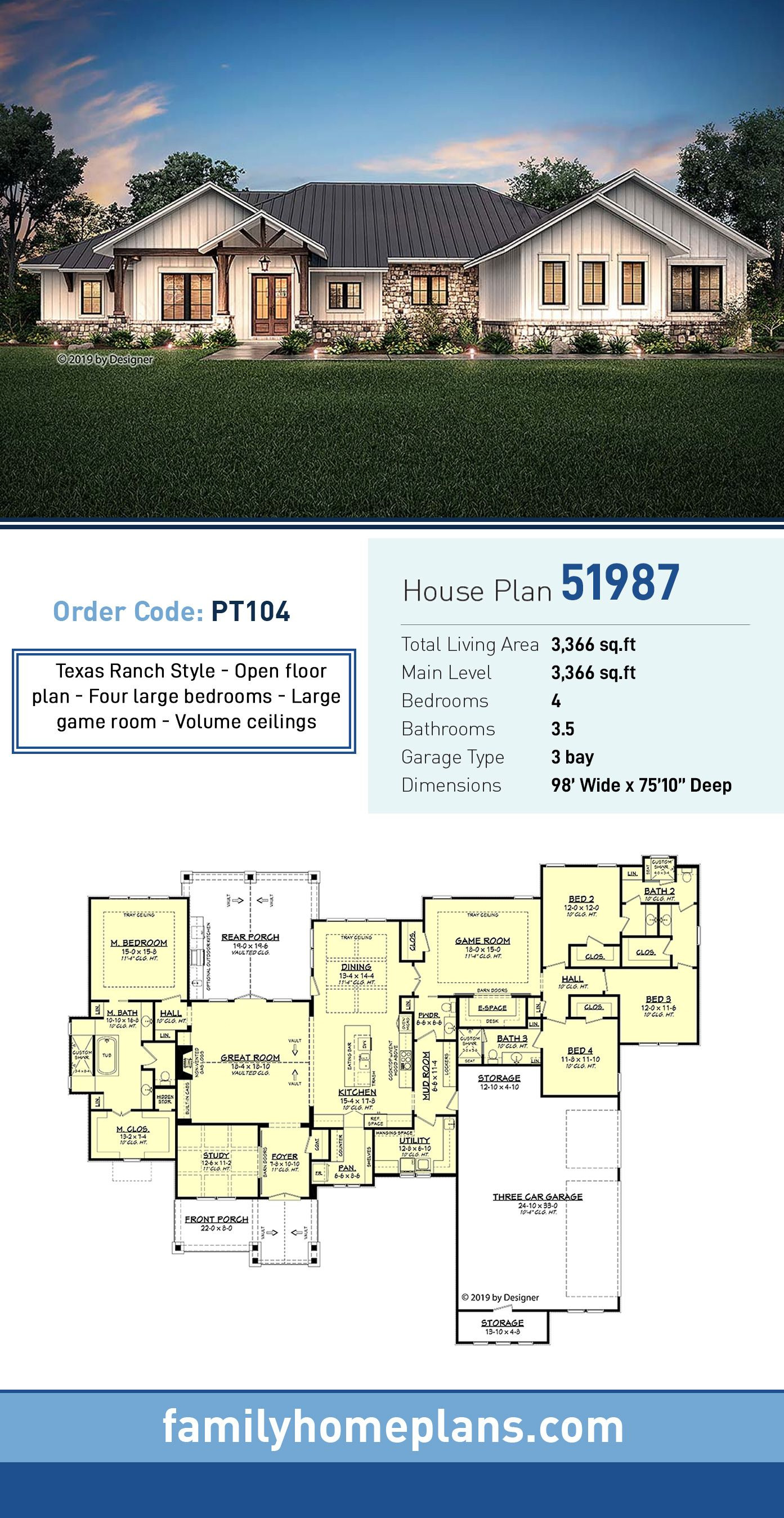 Ranch Style House Plans with Open Floor Plans Lovely Ranch Style House Plan with 4 Bed 4 Bath 3 Car