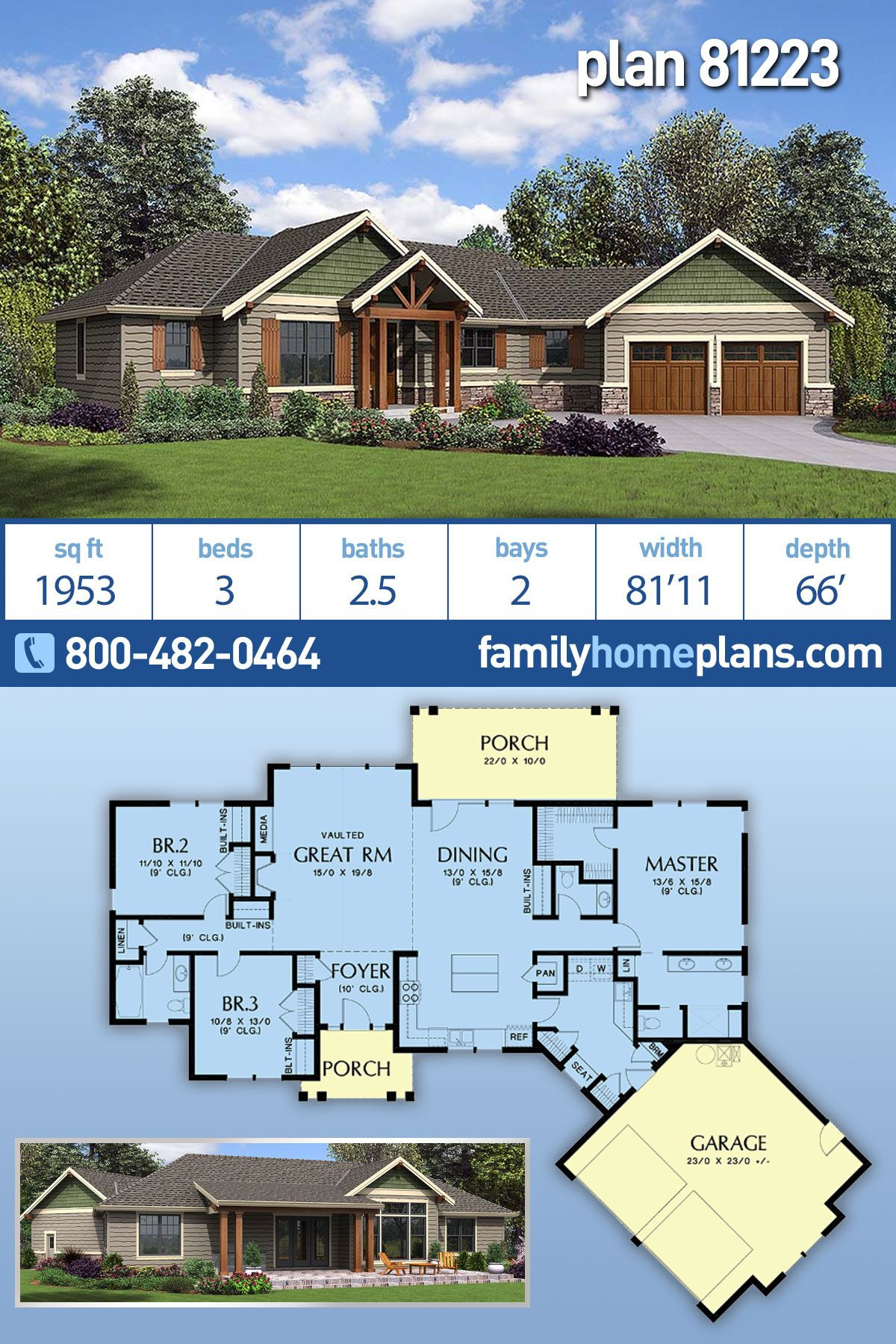 Ranch Style House Plans with Open Floor Plans New Ranch Style House Plan with 3 Bed 3 Bath 2 Car