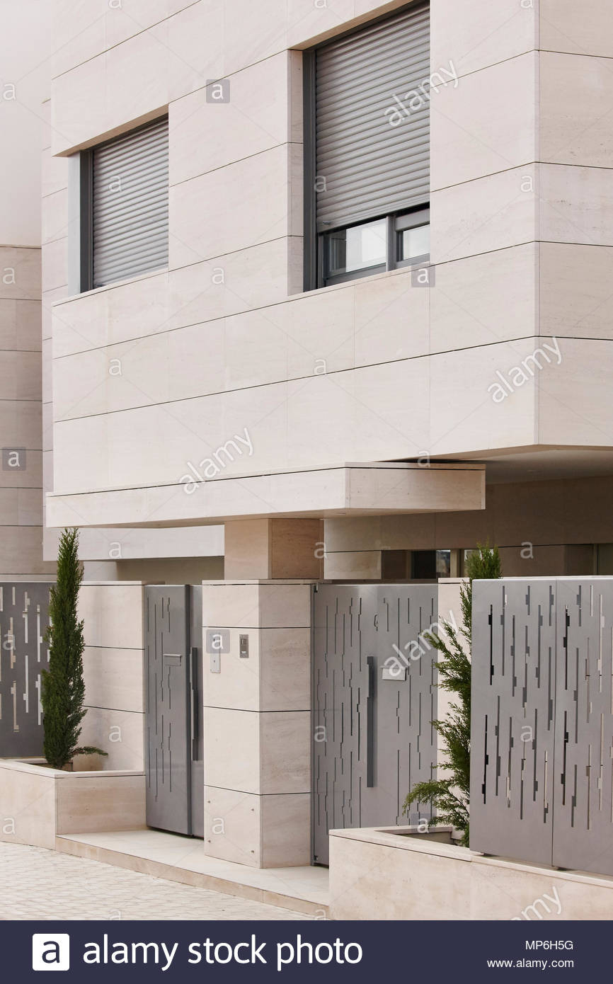 modern residential building entrance estate property marble stone construction vertical MP6H5G