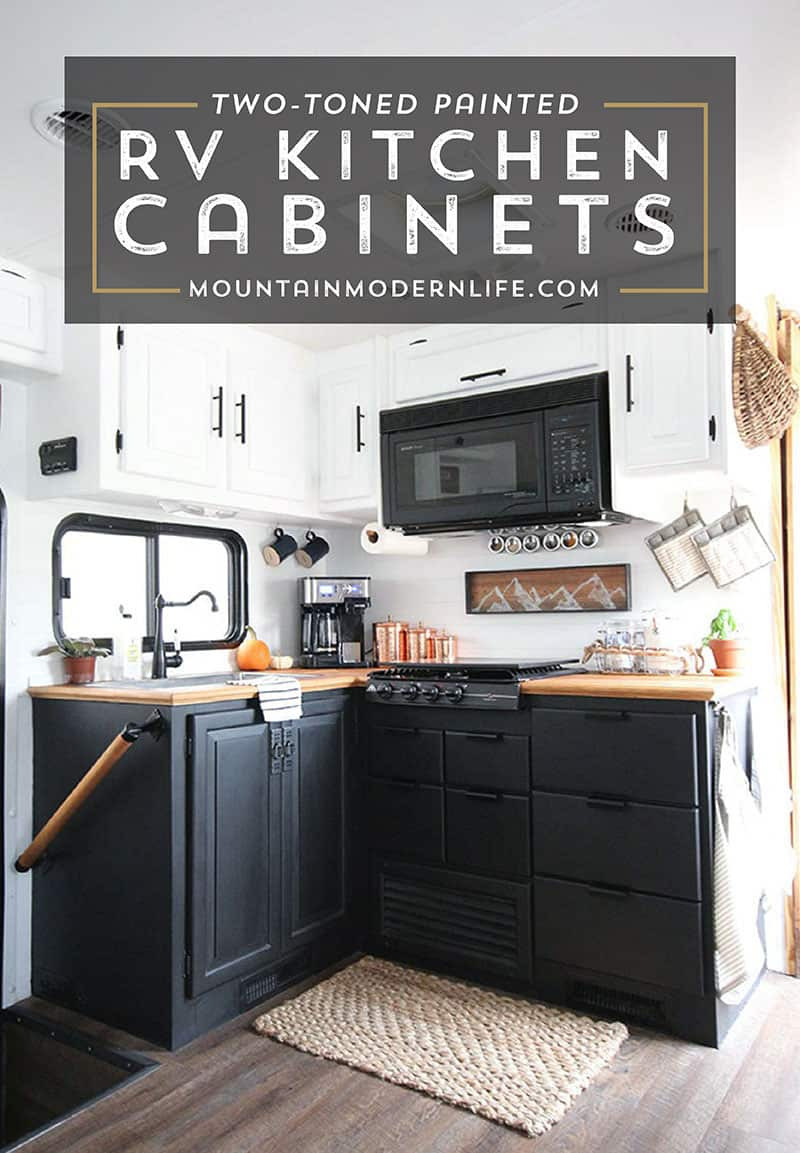 two toned painted rv kitchen cabinets tiffin allegro openroad 32la mountainmodenrlife