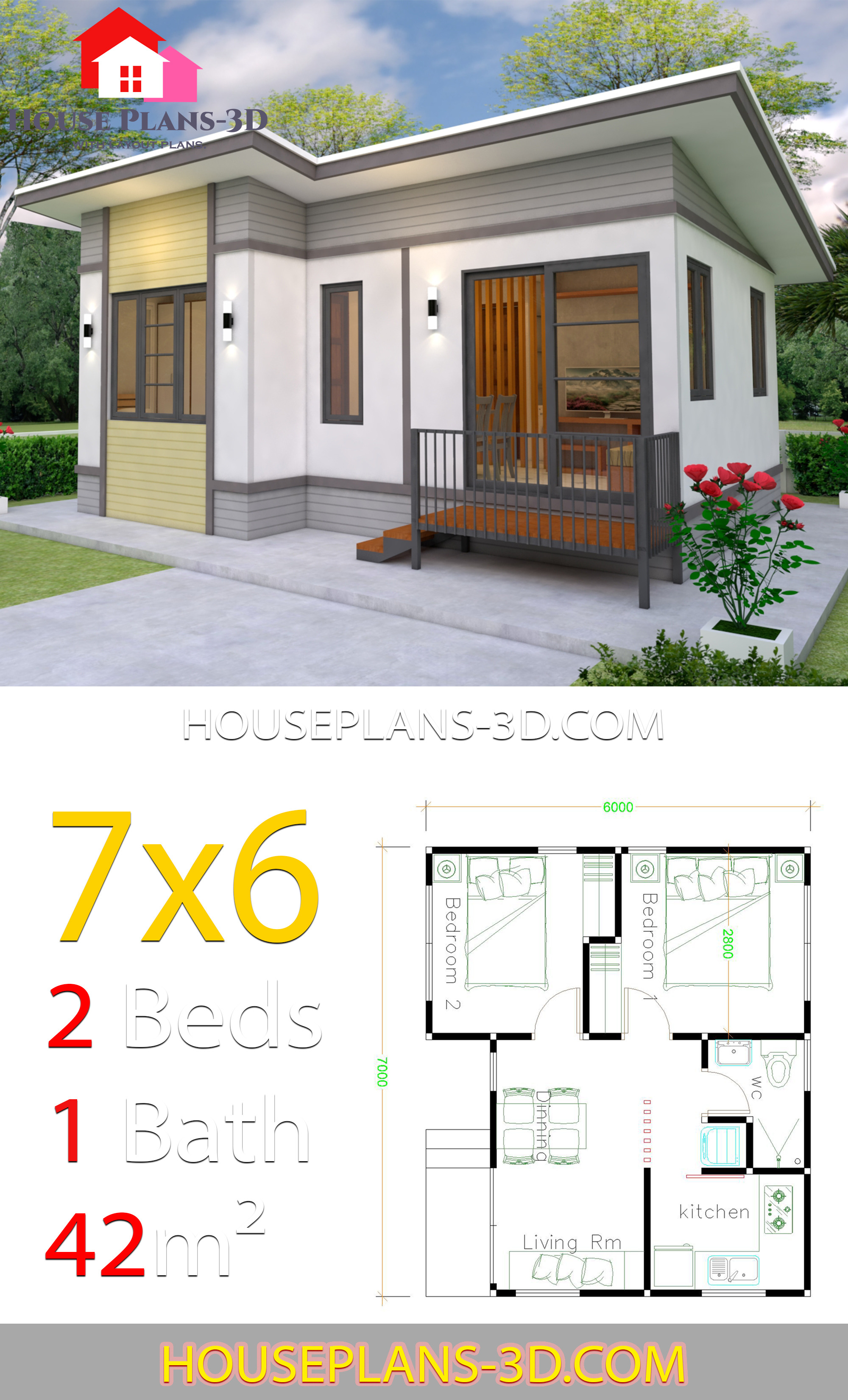 Self Design House Plans Awesome Small House Plans 7x6 with 2 Bedrooms House Plans 3d