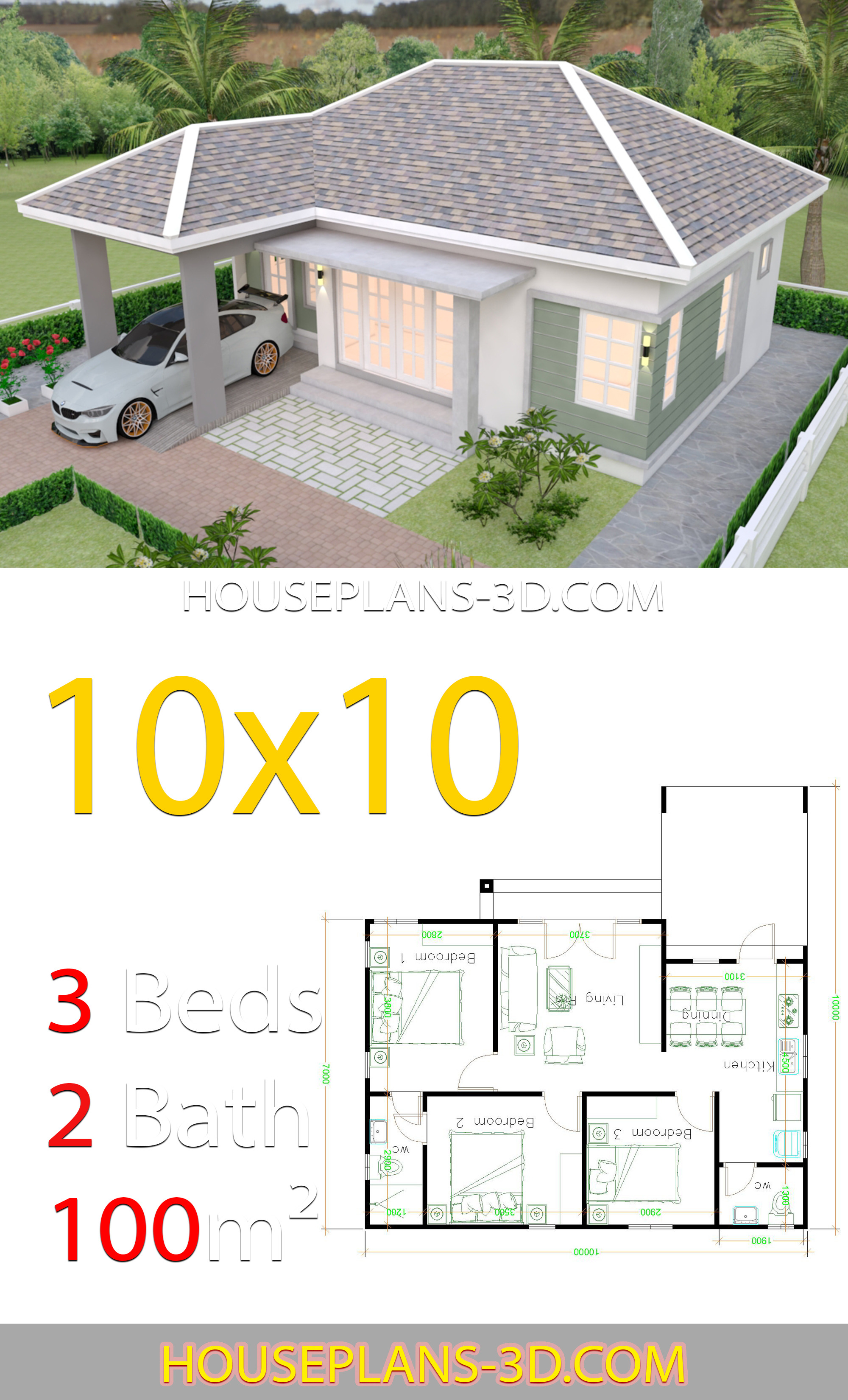 house design 10x10 with 3 bedrooms hip roof