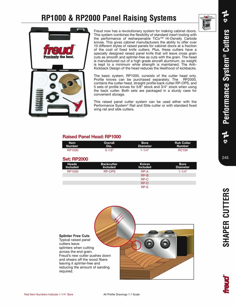 """Shaper Cutters for Cabinet Doors Best Of [freud Rp1000] Performance Shaper Cutter System Basic Raised Panel Set 1 1 4"""" Bore Cutter Head Ly"""