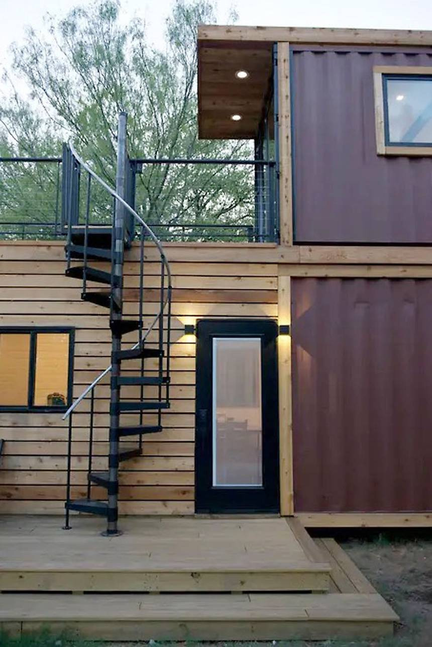 Shipping Container Housing Plans Luxury Stacked Two Story Shipping Container Home Has Roof Terrace