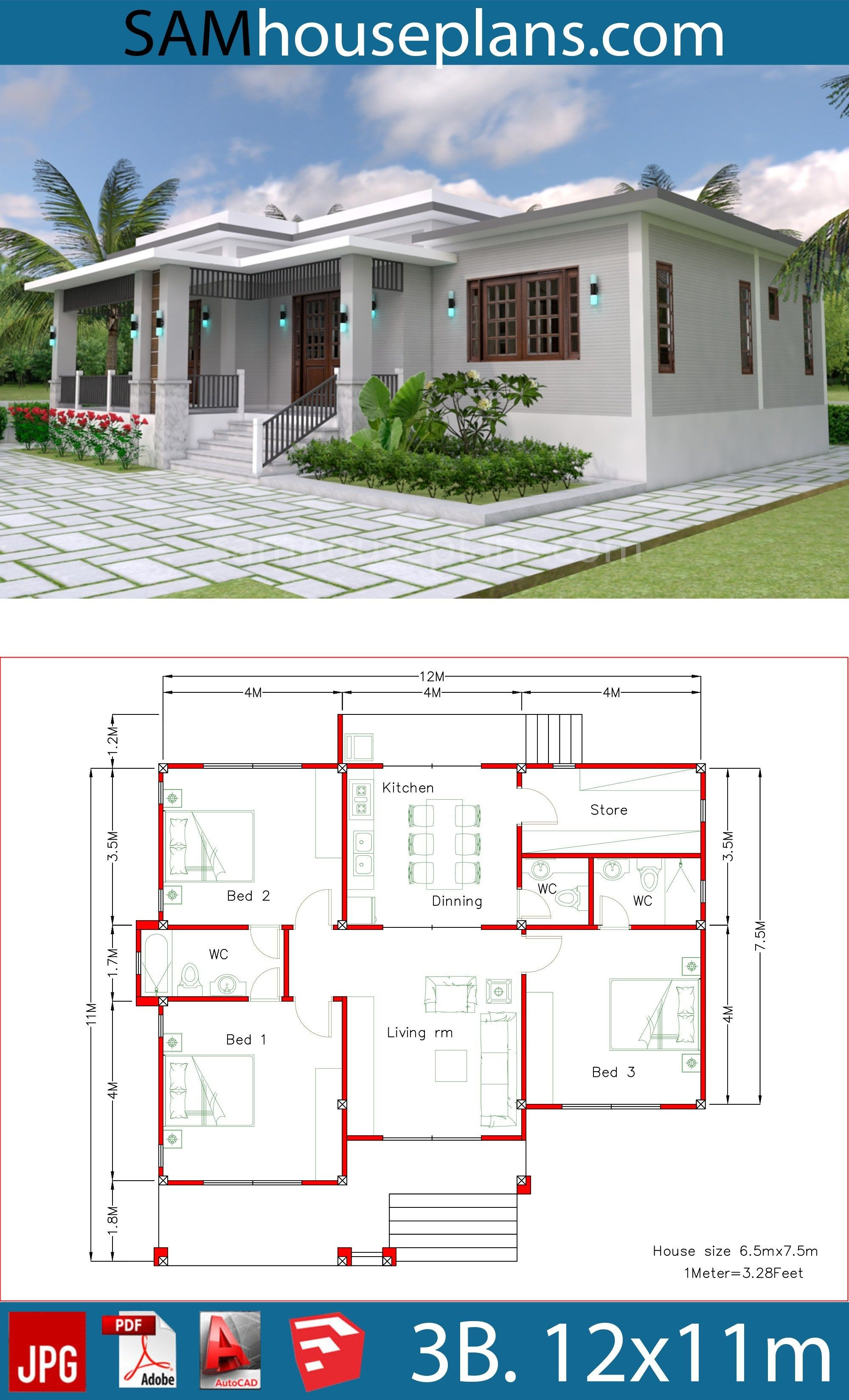 Simple House Models Pictures New House Plans 12x11m with 3 Bedrooms In 2020
