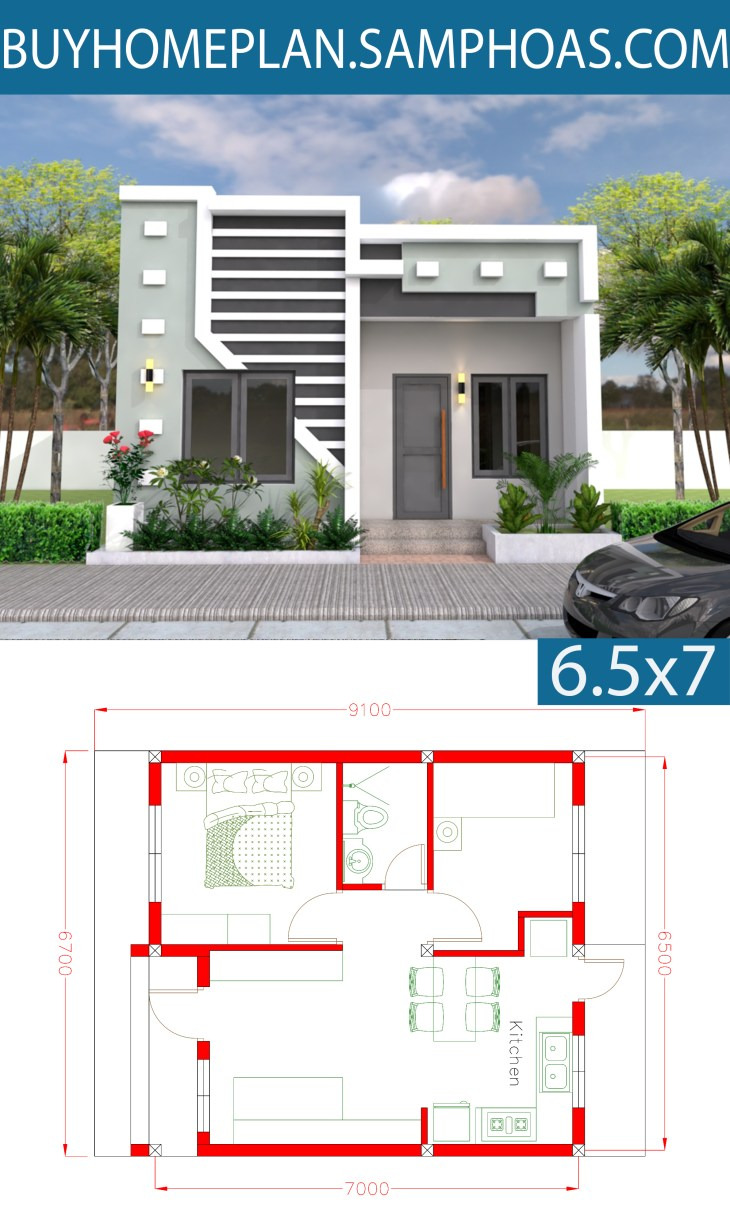 3D Simple House Plan with Two Bedrooms 6 7x9m v5