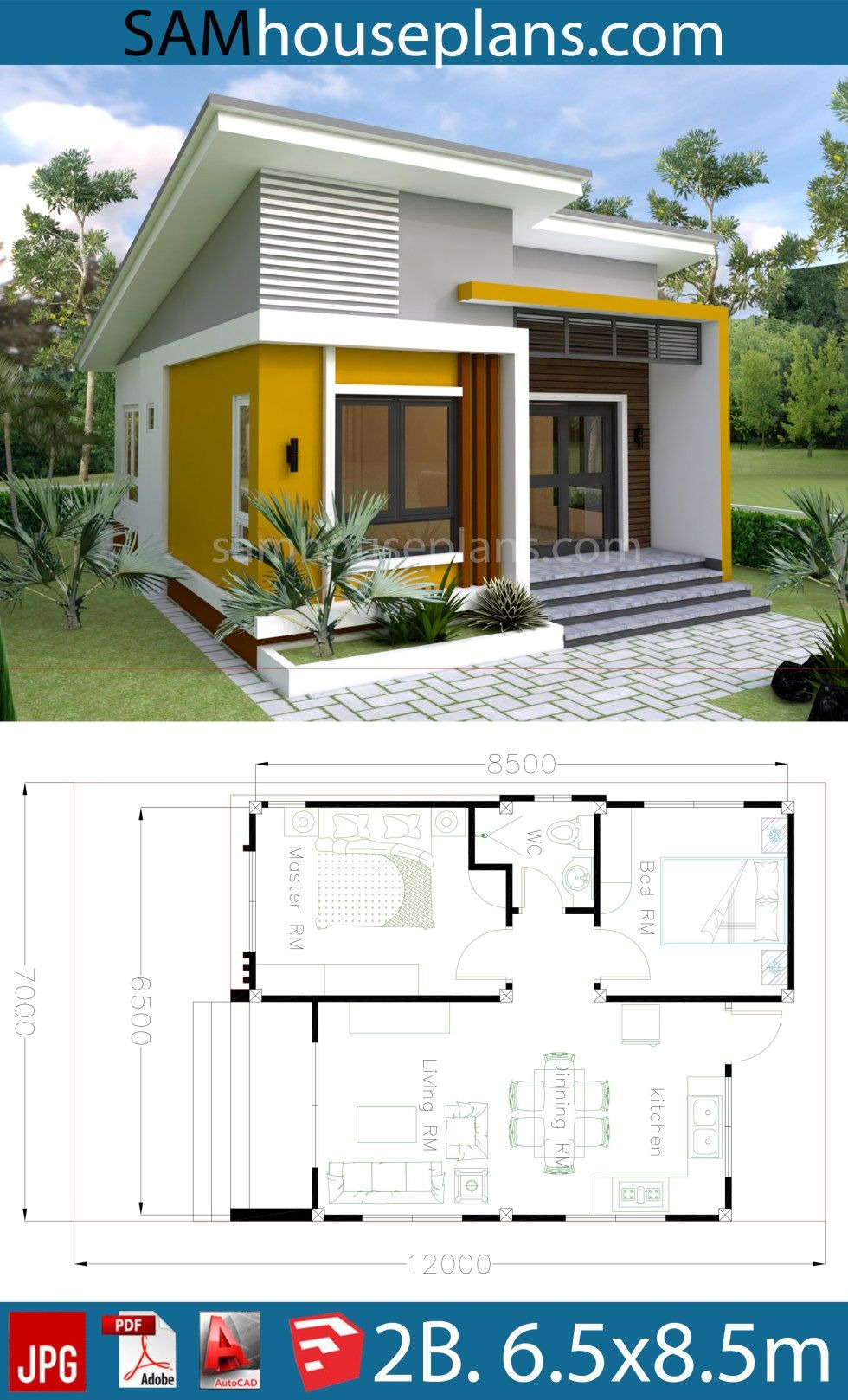 Simple Modern House Plans Photos Inspirational House Plans 6 5x8 5m with 2 Bedrooms In 2020