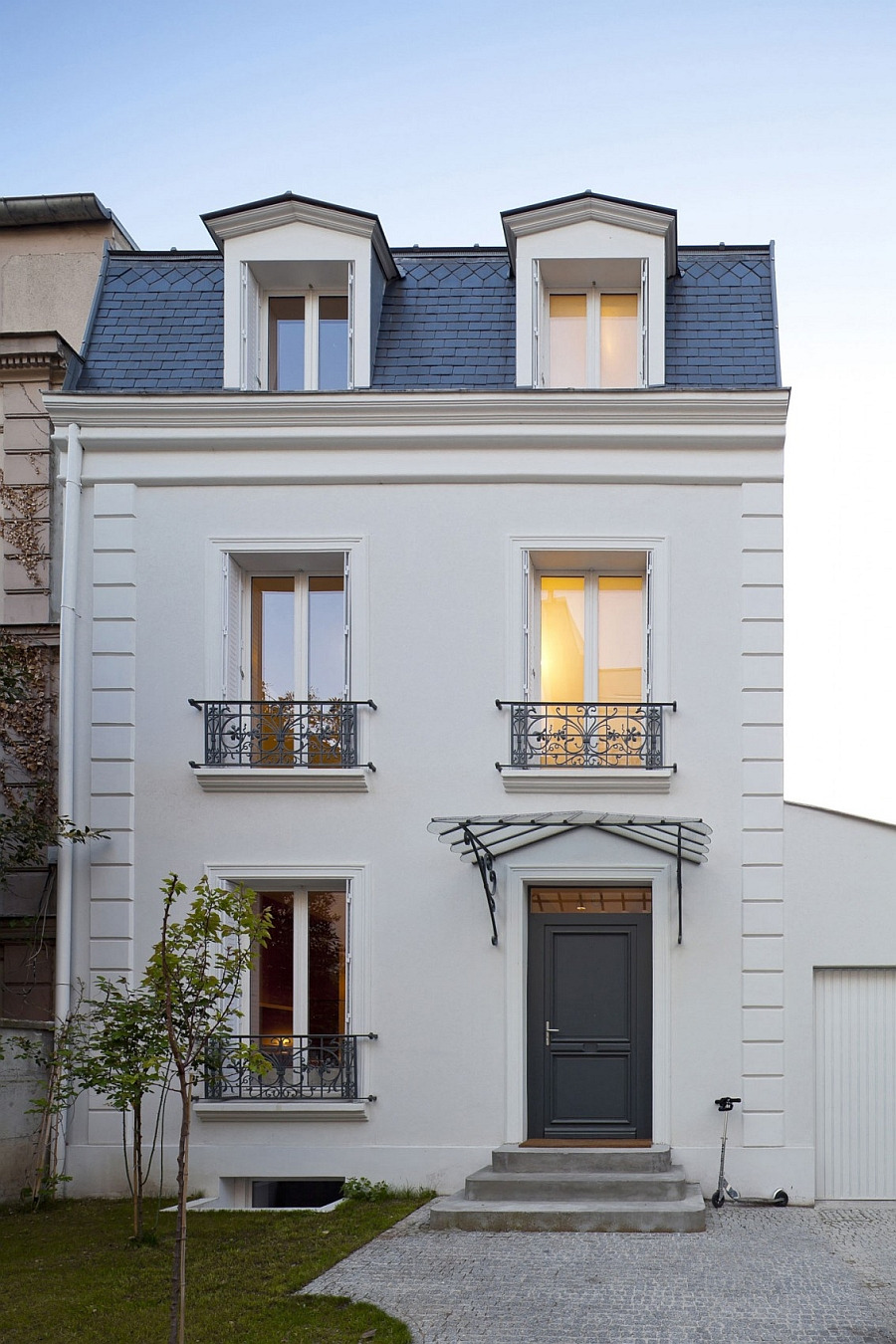 Street facade of the classic house in Vincennes France