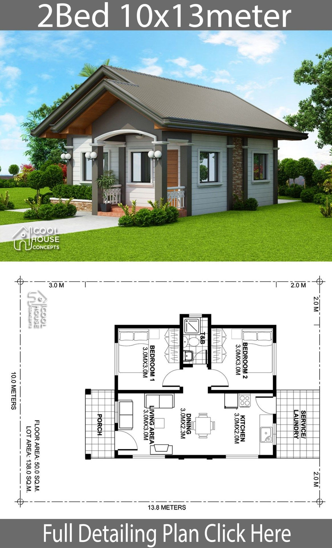 Small House Design Pictures Beautiful Home Design Plan 10x13m with 2 Bedrooms