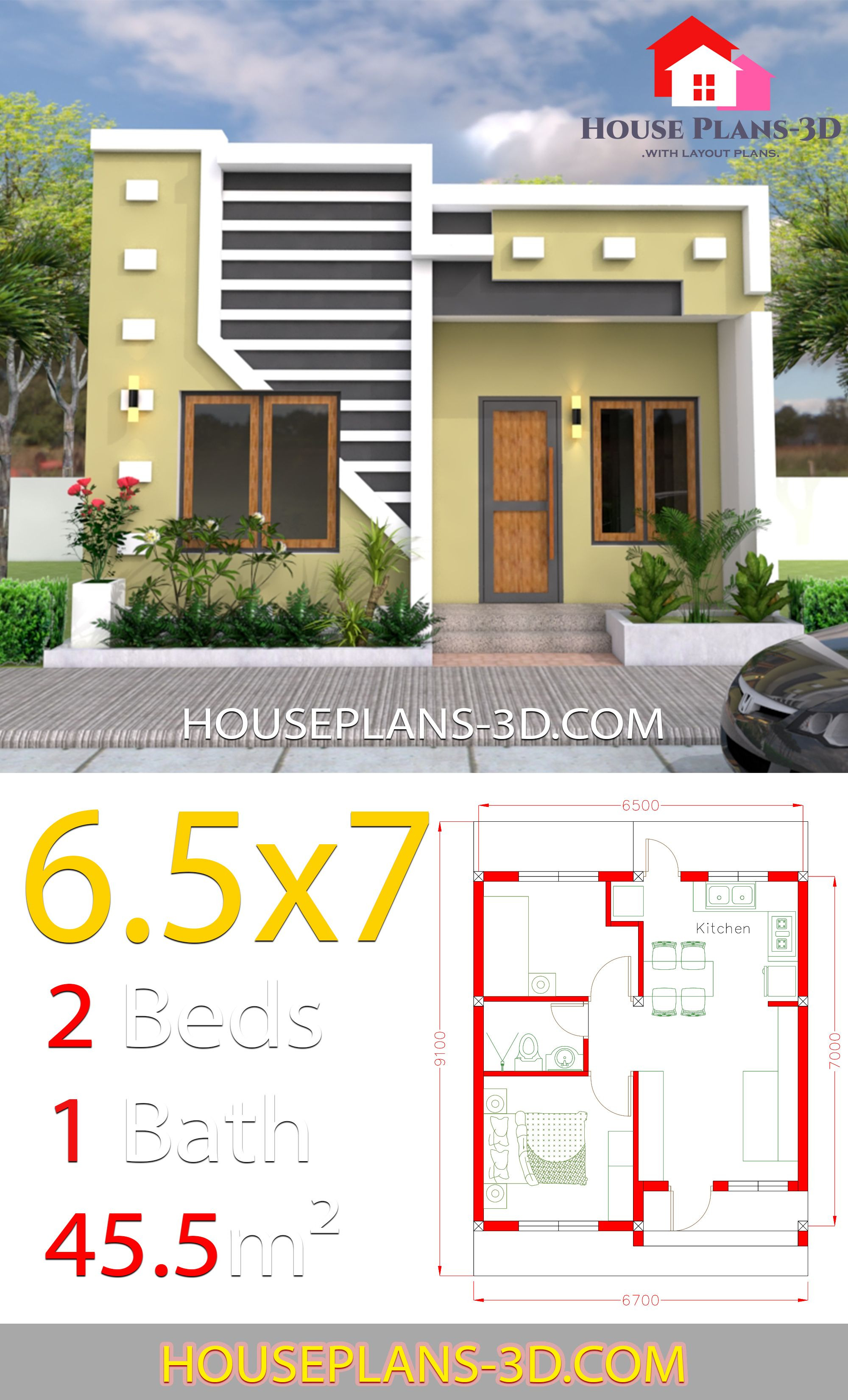 Small House Design Pictures Beautiful Small House Design 6 5x7 with 2 Bedrooms Full Plans
