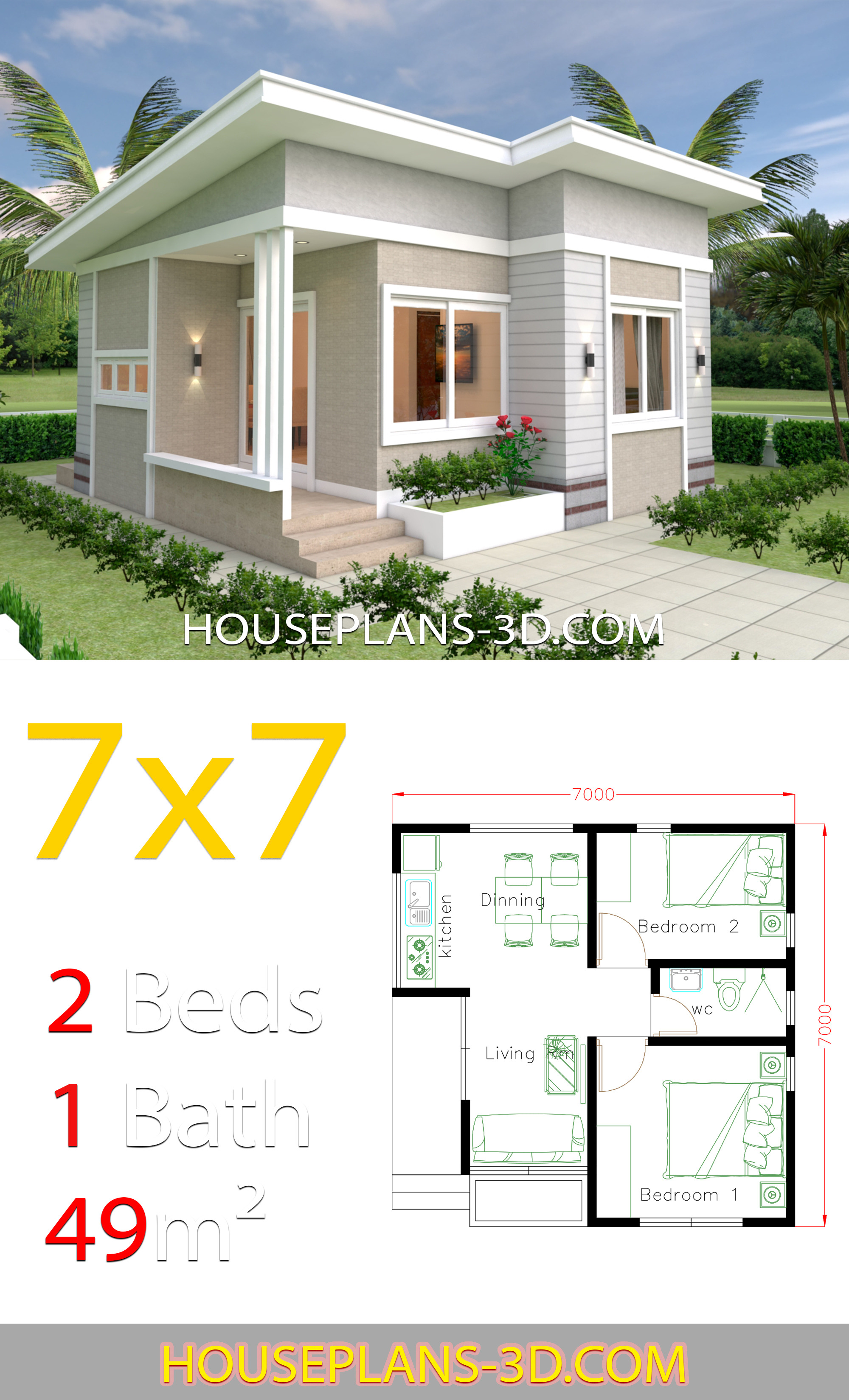Small House Design Pictures New Small House Design Plans 7x7 with 2 Bedrooms