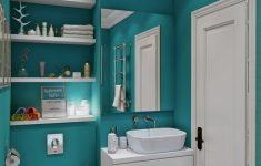 Teal Bathroom Decor Fresh Contemporary Teal Bathroom Wall Color Scheme With Wooden