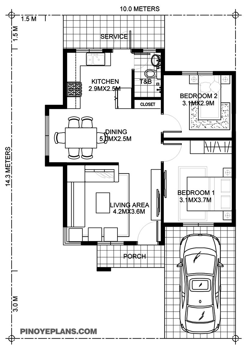 wanda simple 2 bedroom house with fire wall