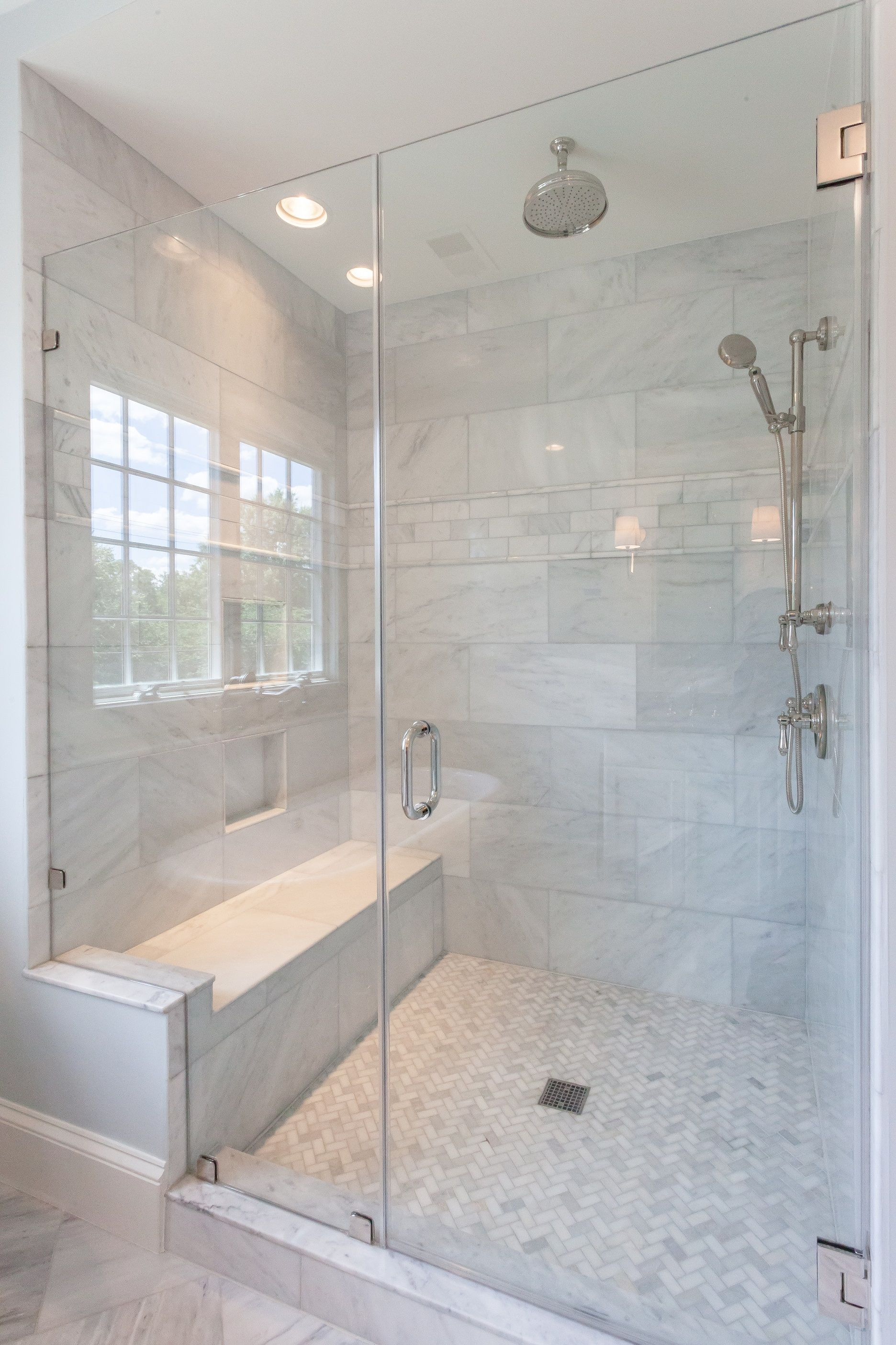Walk In Shower with Seat Designs Inspirational Walk In Glass Shower with Built In Shower Seat and Marble