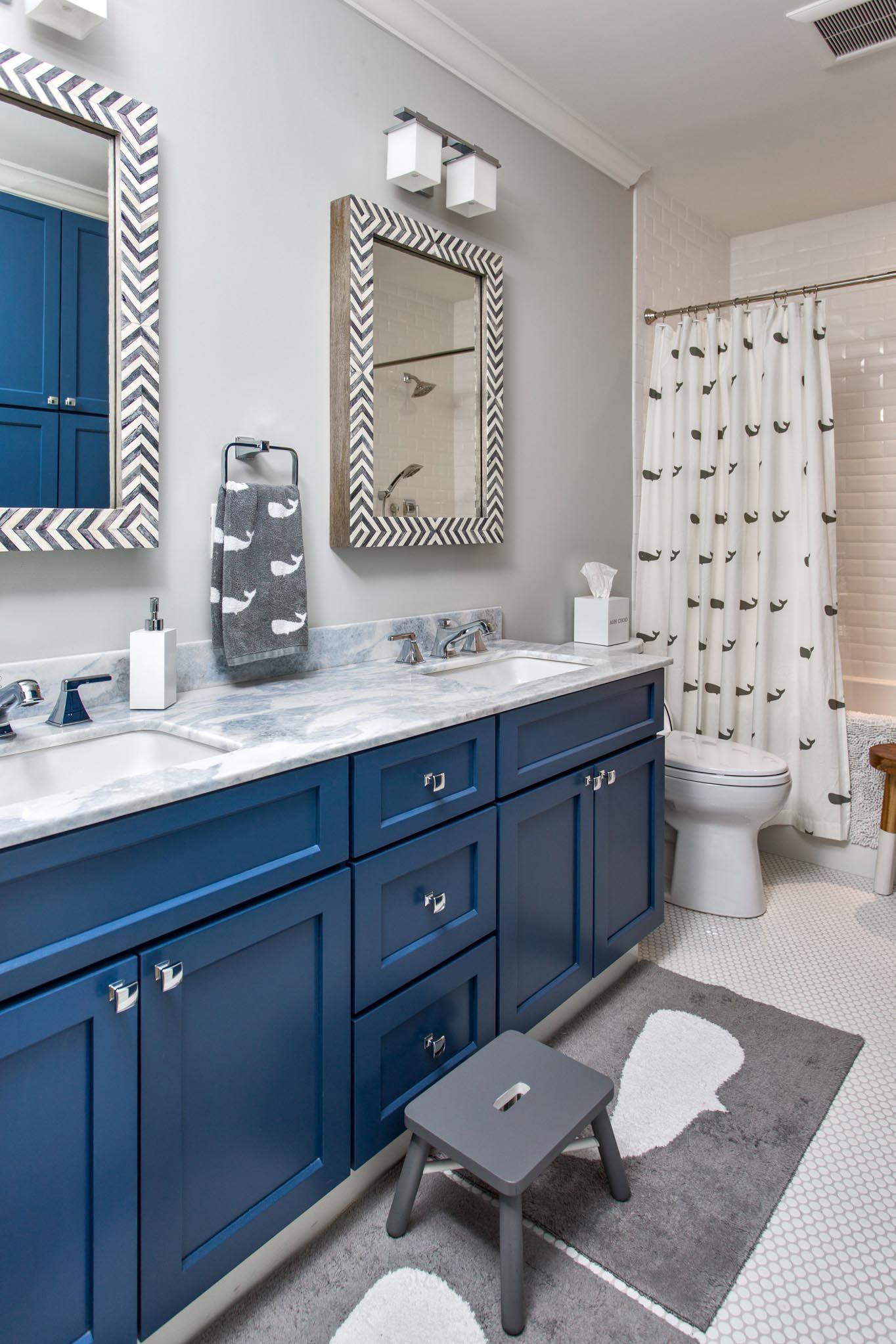 Whale Bathroom Decor Awesome Coastal Bathroom with Gray White and Navy Cabinets Whales