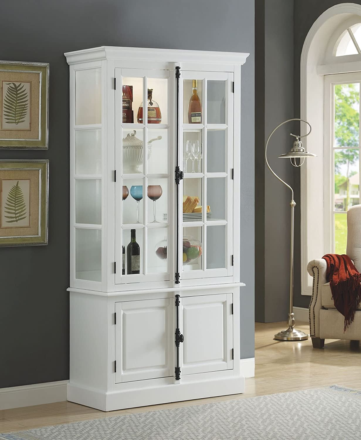 """White China Cabinet with Glass Doors Elegant Major Q 81"""" H Transitional White Finish Curio"""