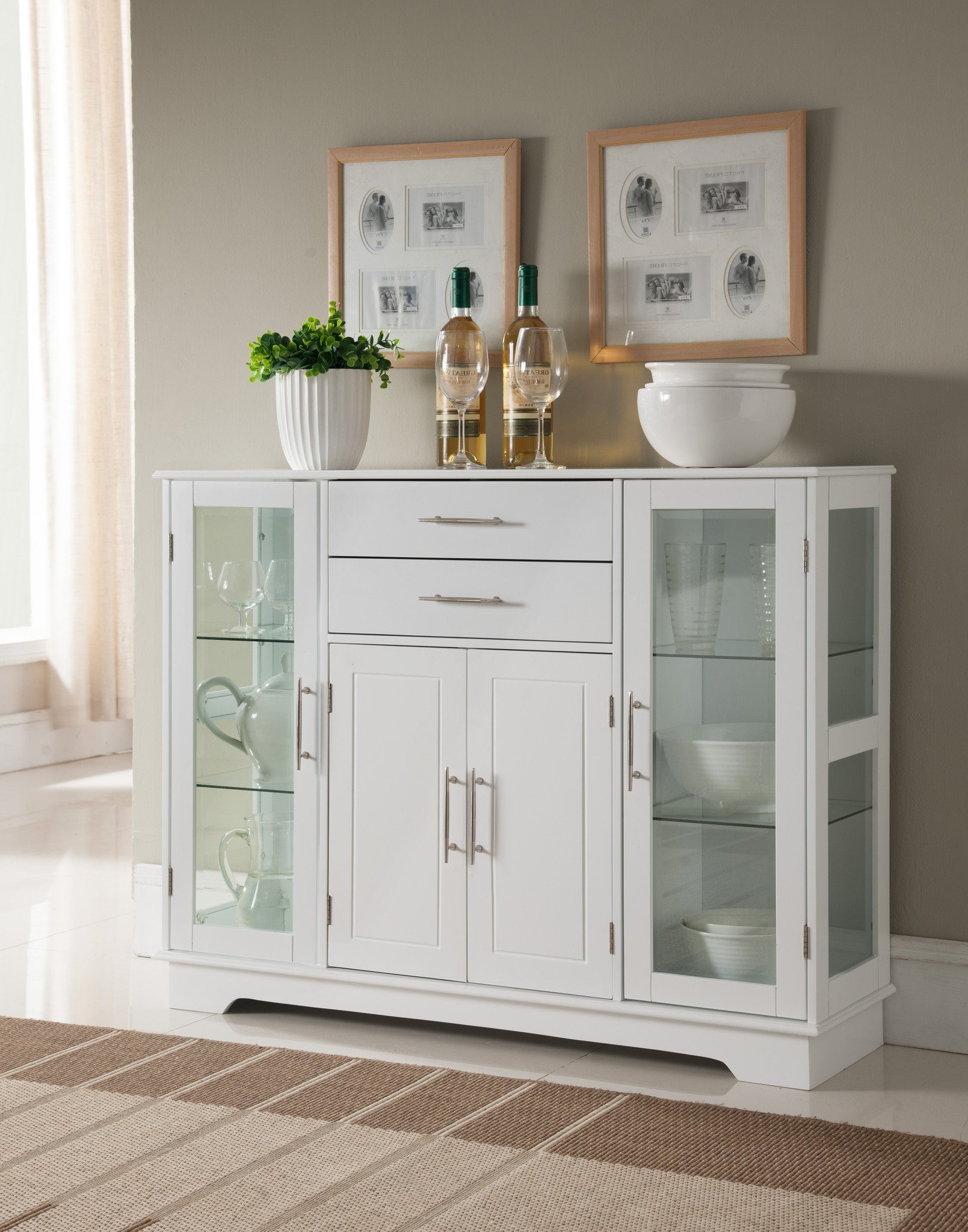 White China Cabinet with Glass Doors Fresh Elias Kitchen Storage Sideboard Buffet Cabinet with Glass