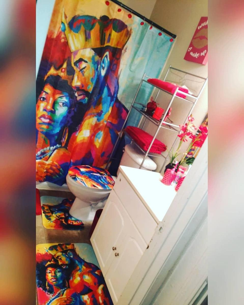 Romantic Afro Black King with Queen Shower Curtain Bathroom Decor 1200x1200