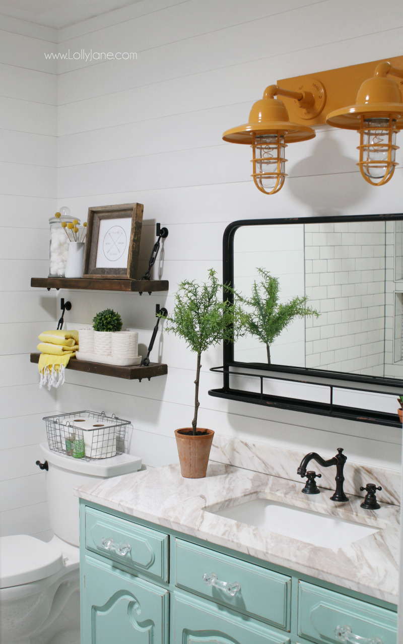 aqua vanity farmhouse bathroom